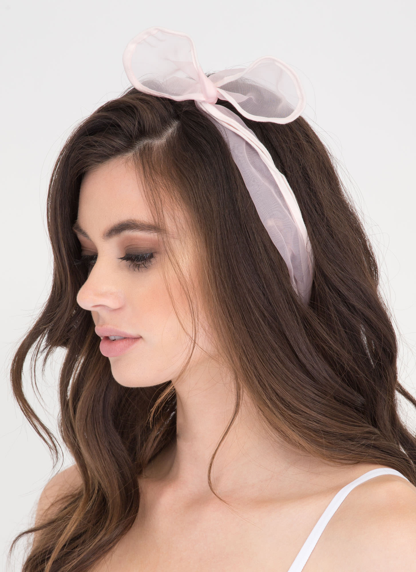 Hair Today Sheer Mesh Wire Headband PINK