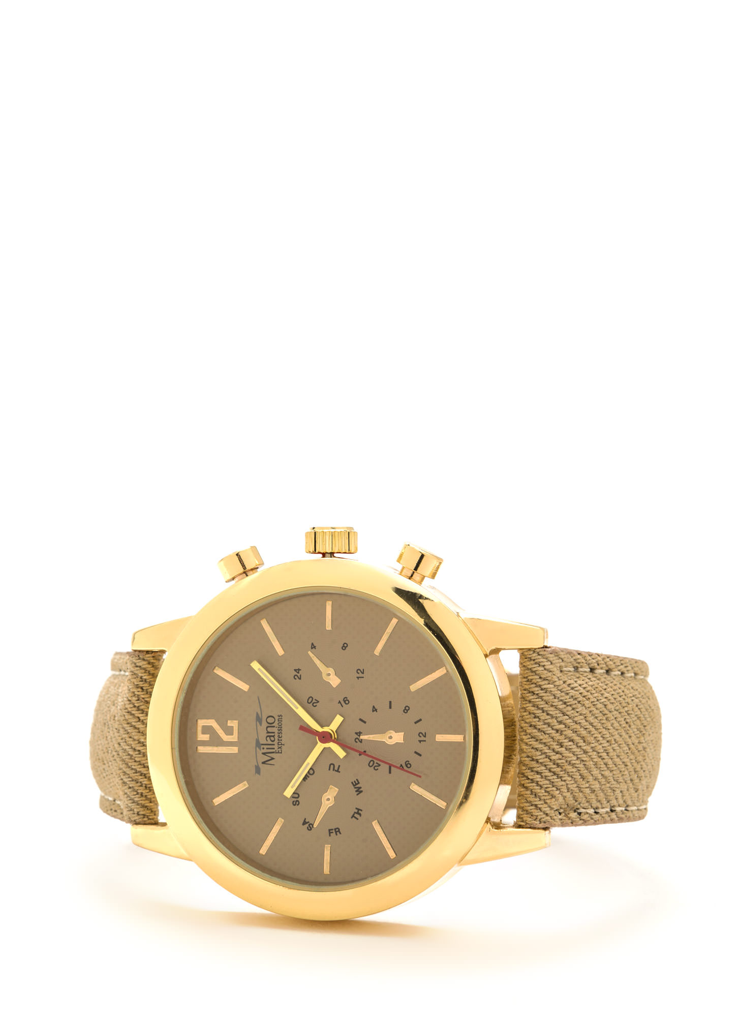 Time Out Canvas Chronograph Watch BEIGEGOLD
