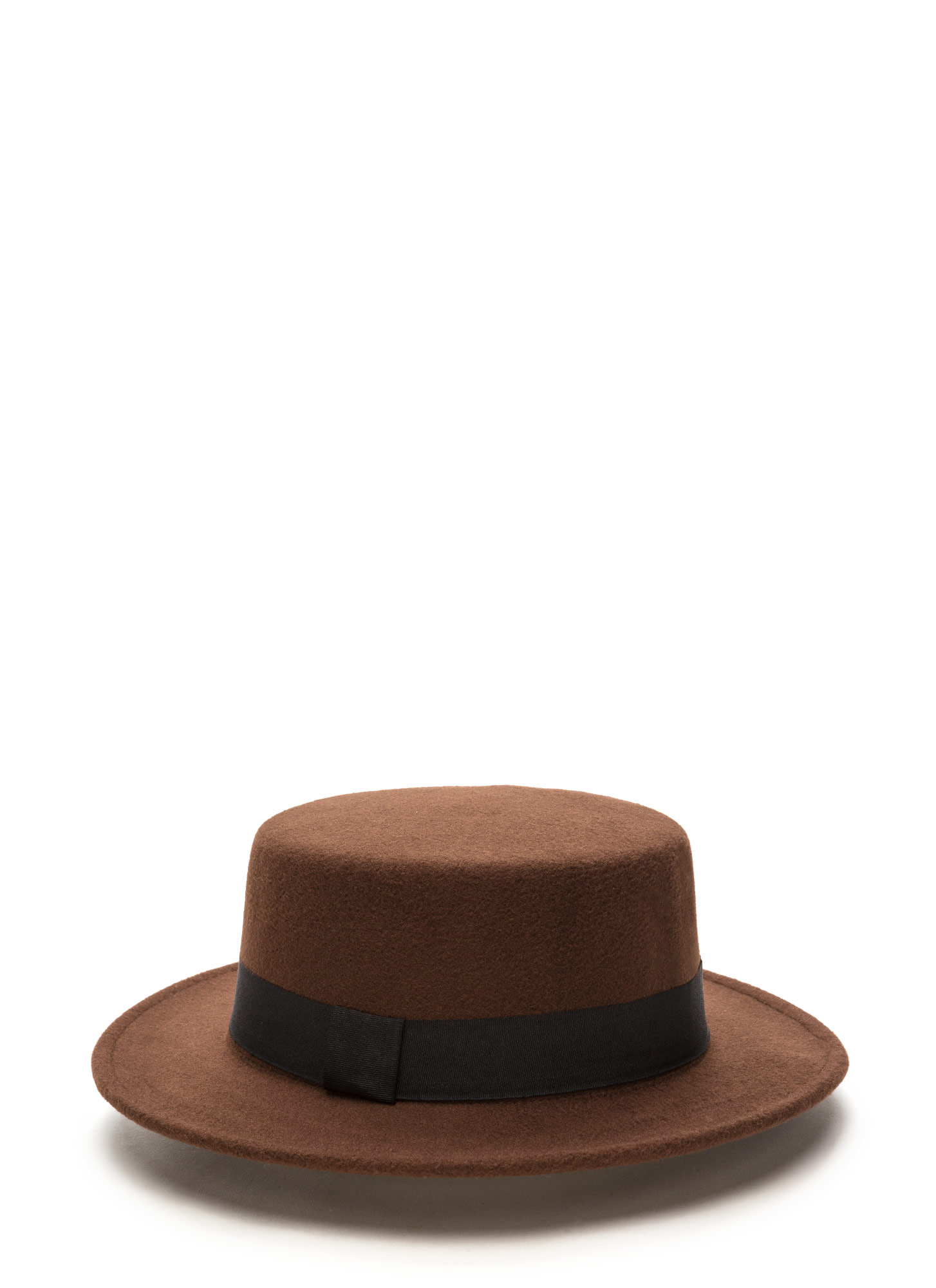 Flat Out Felt Boater Hat BROWN