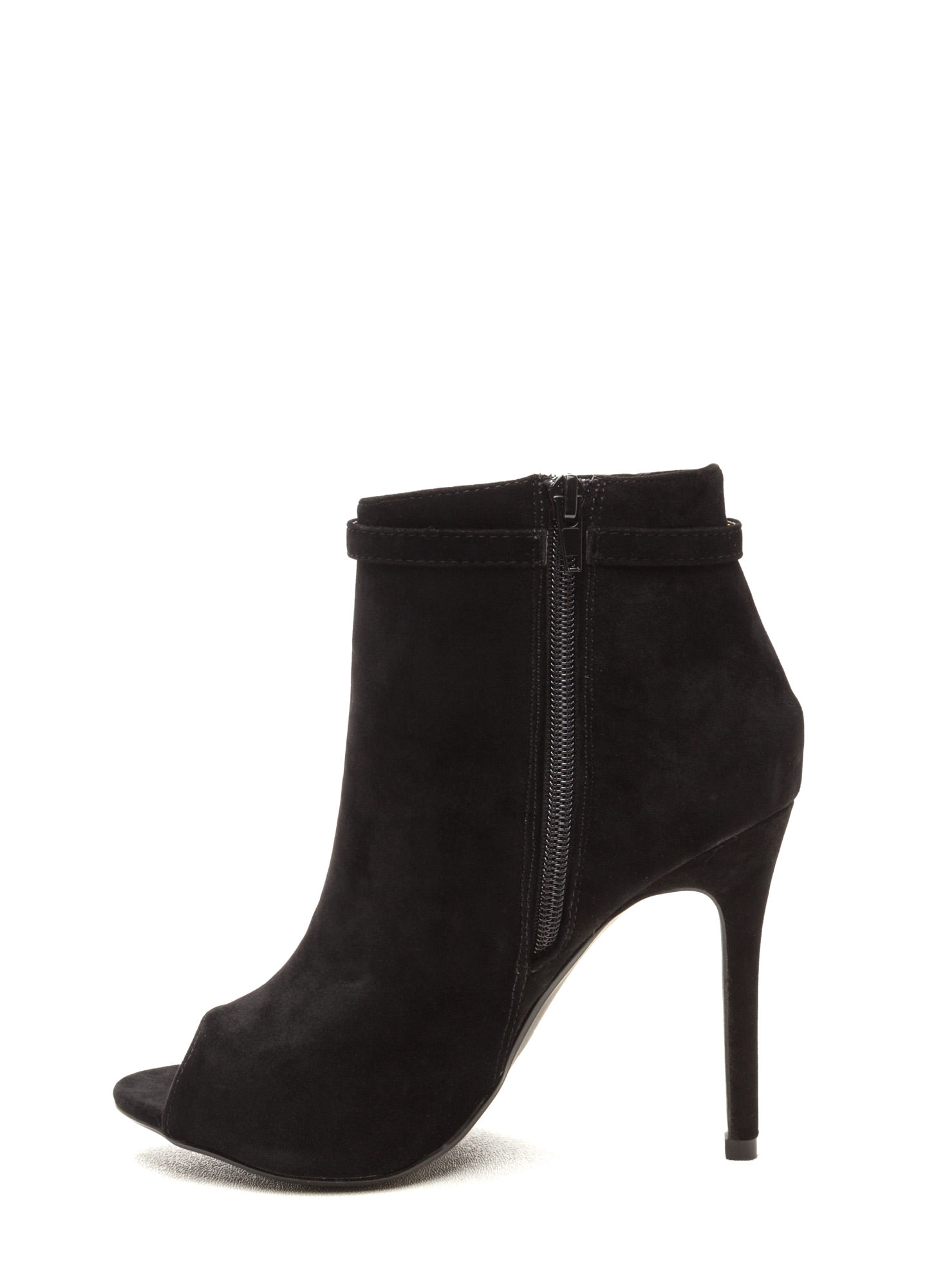 Fluff Up Pom-Pom Peep-Toe Booties BLACK