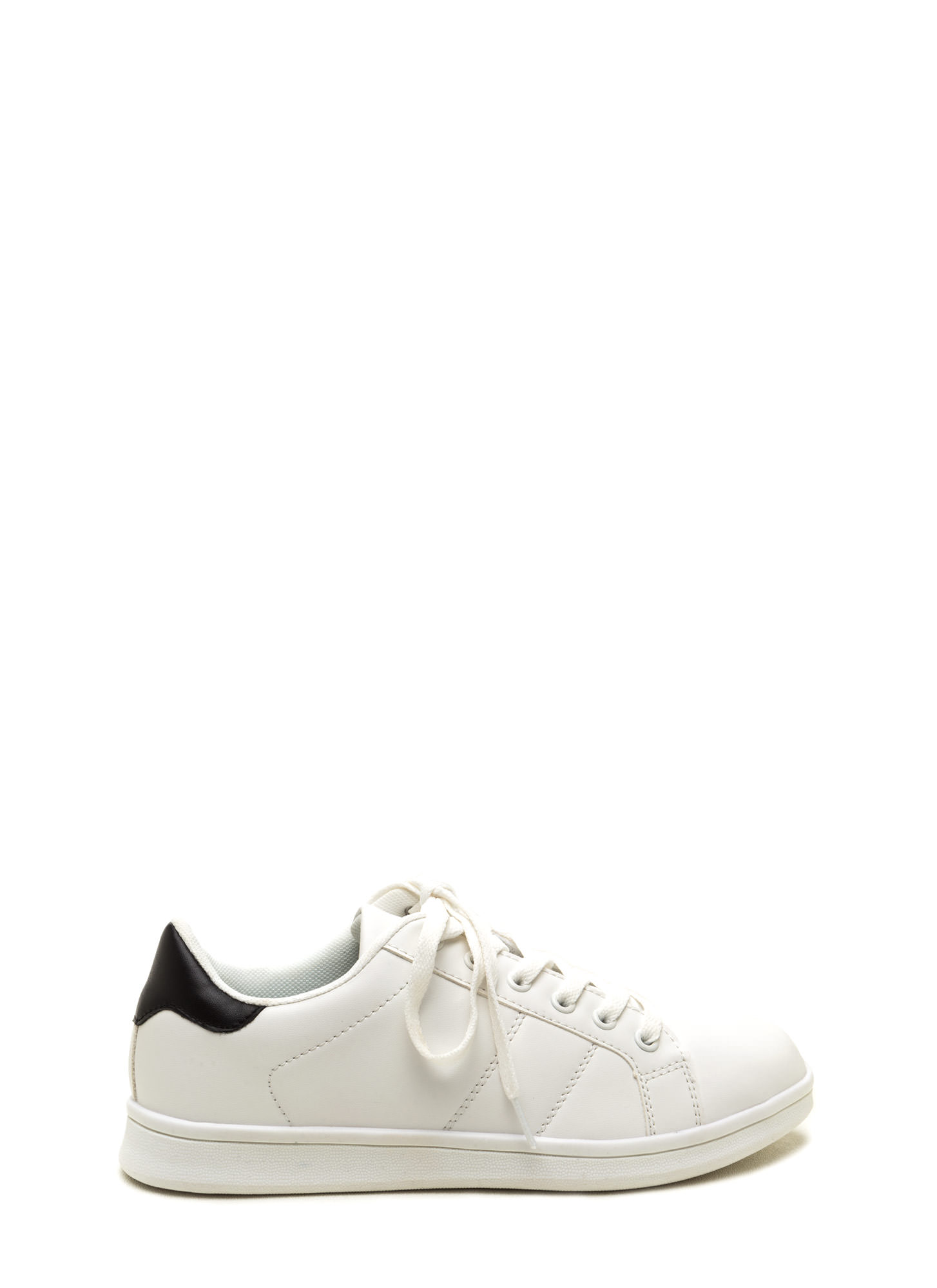 Courtside Faux Leather Contrast Sneakers WHITEBLACK