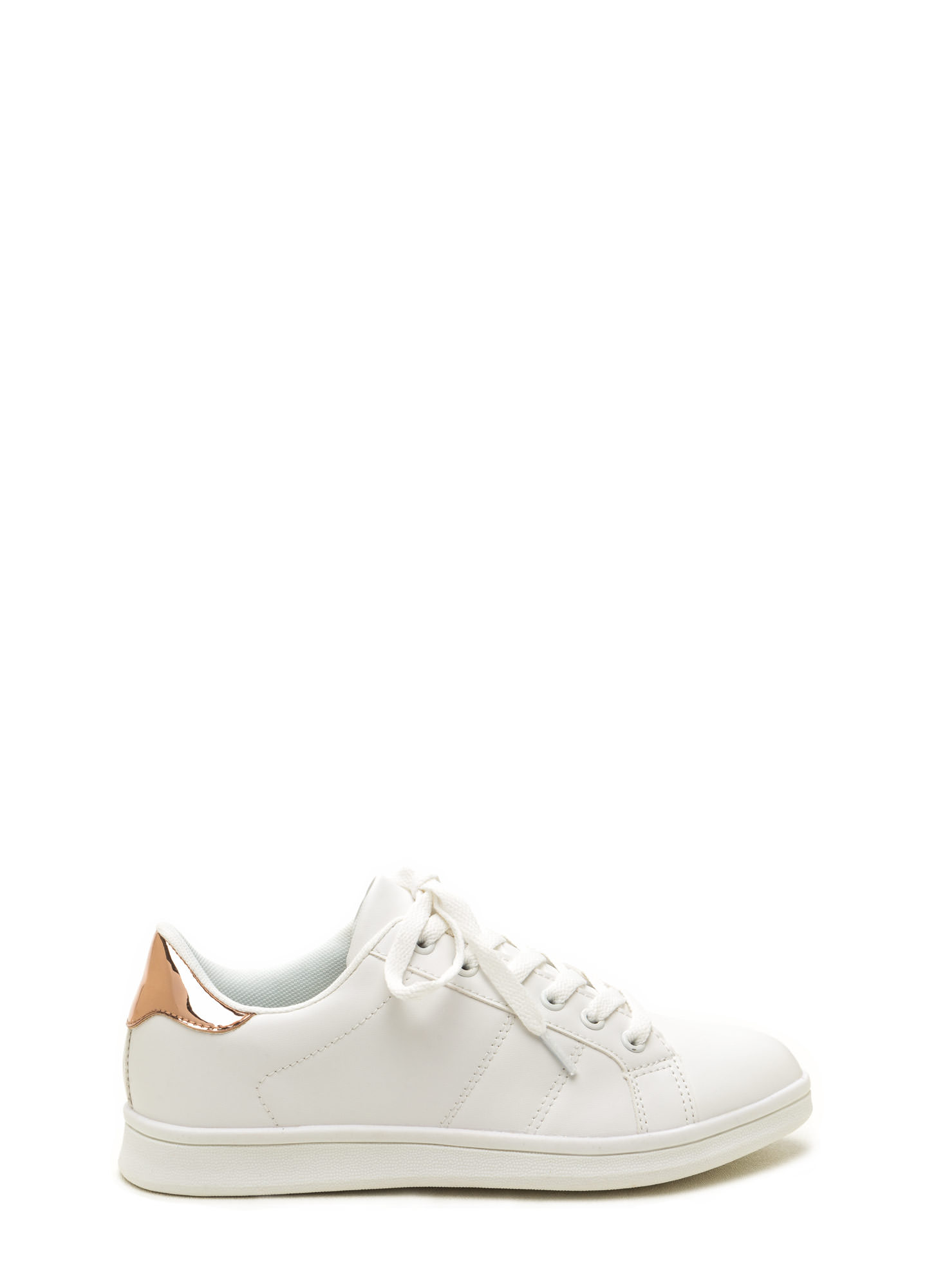 Courtside Faux Leather Contrast Sneakers WHITEROSEGLD