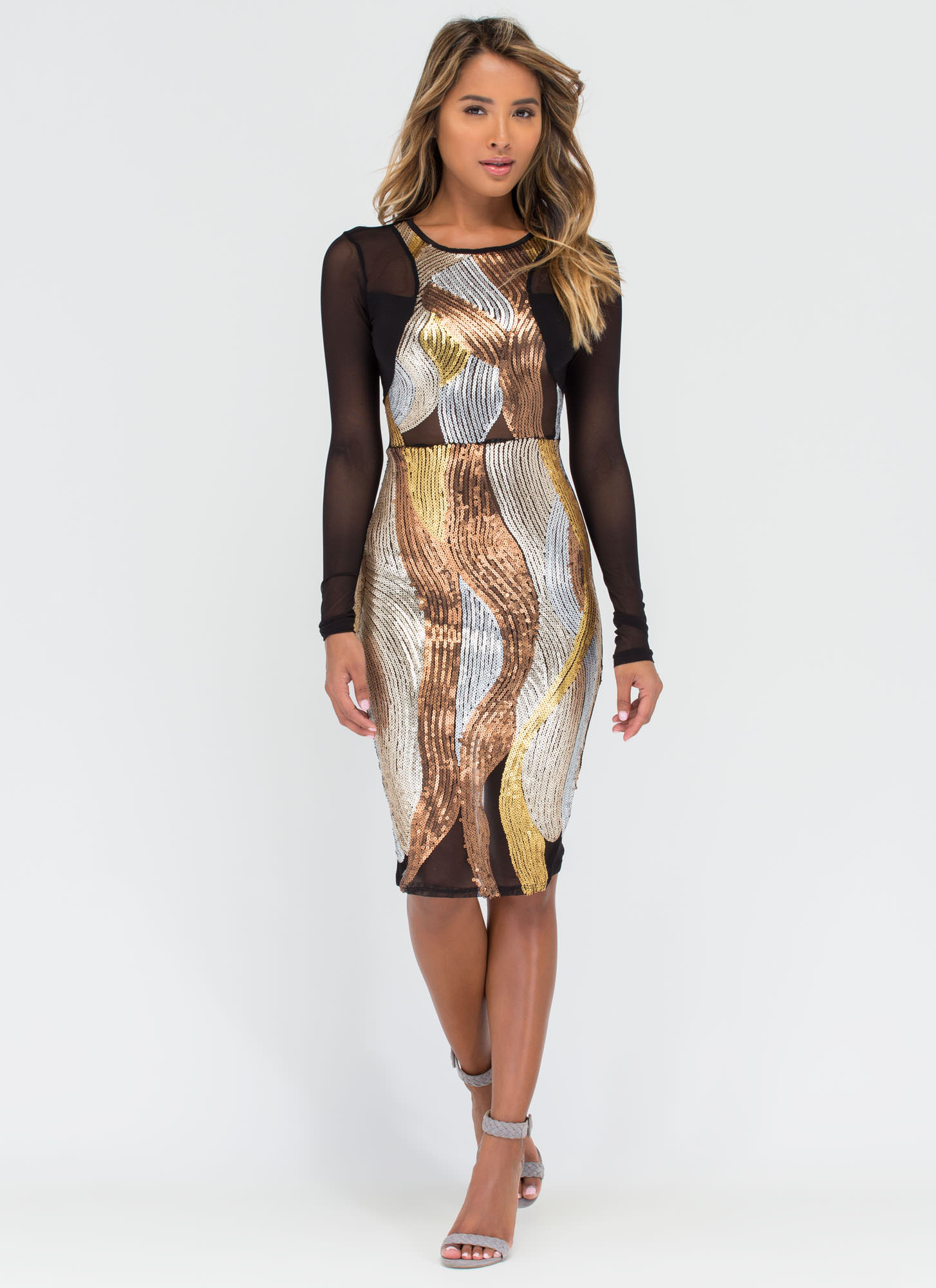 Chic Elements Sequined Midi Dress GOLD