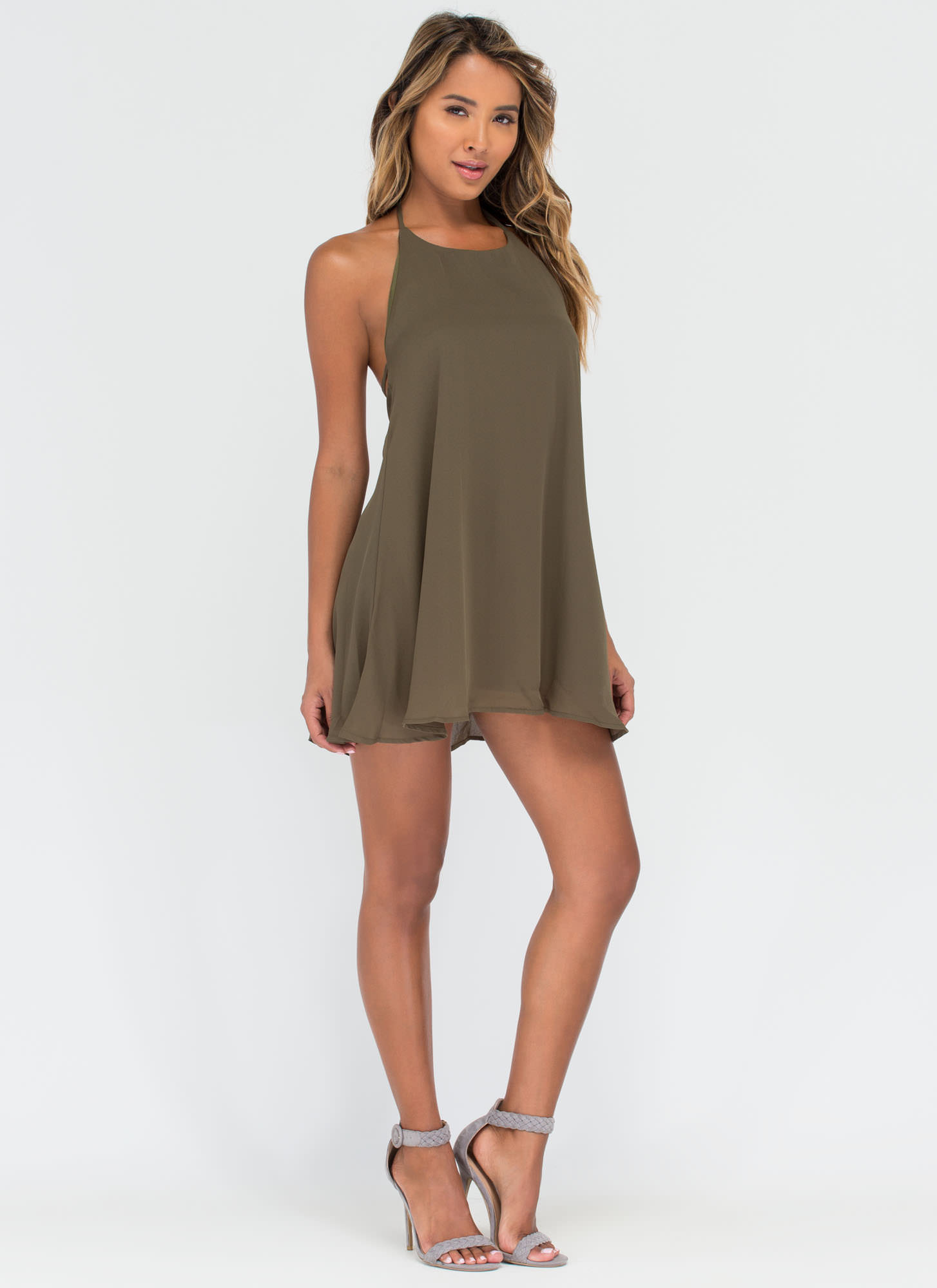 Boho Flow Halter Minidress OLIVE