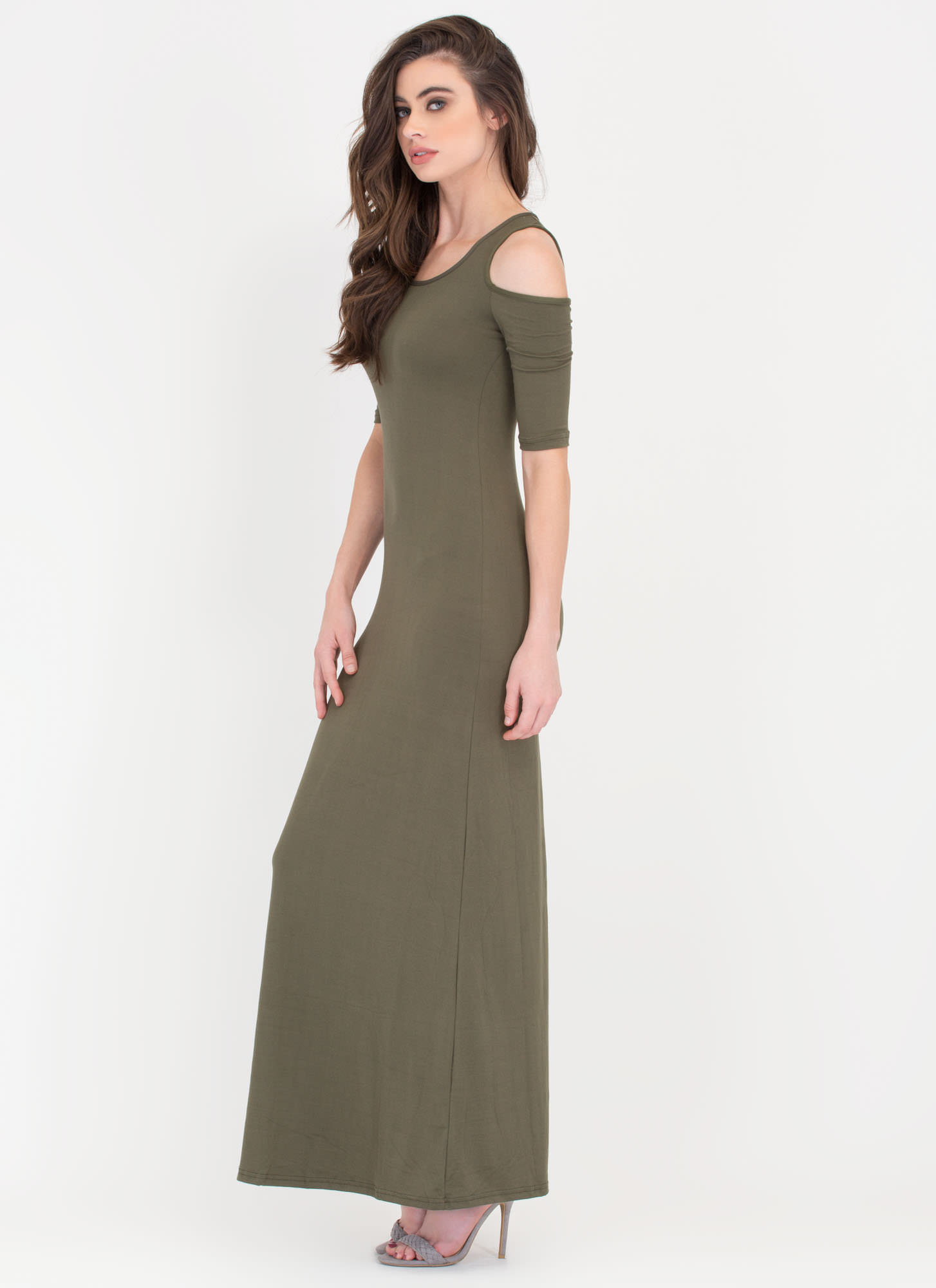 Shoulder To Shoulder Knit Maxi Dress OLIVE