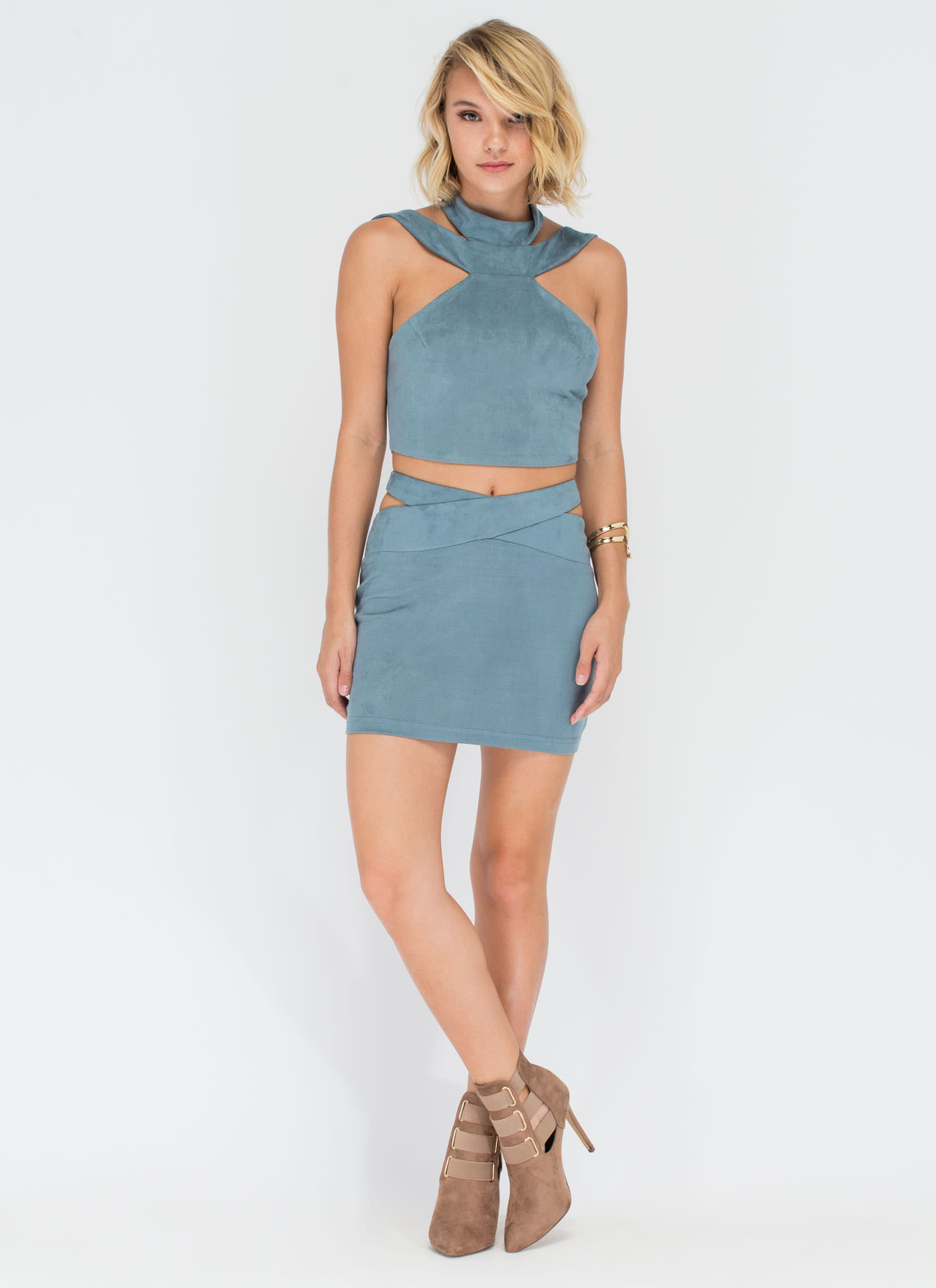 Cross Train Crop Top 'N Skirt Set BLUE