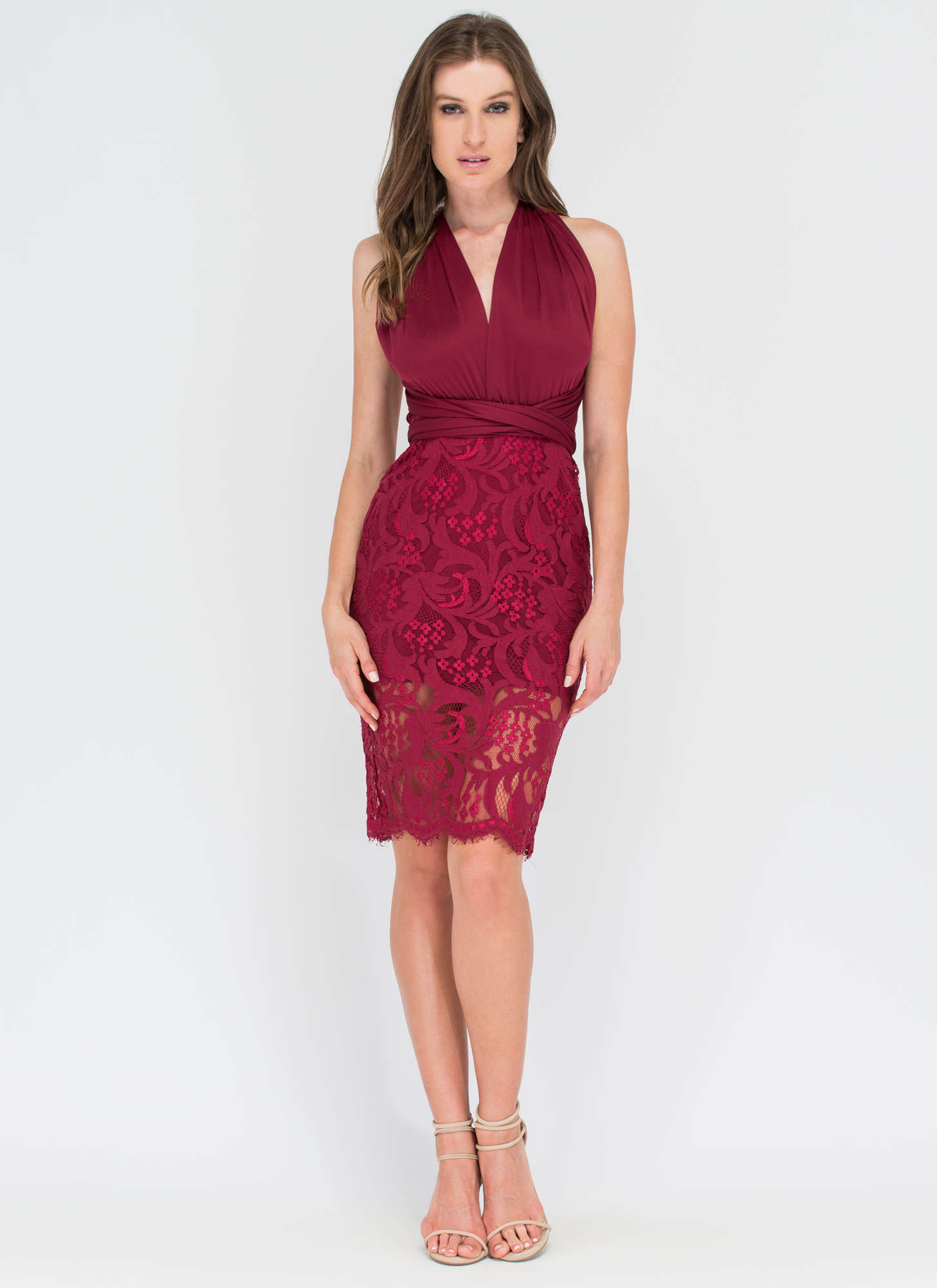 My Way Convertible Lace Bodycon Dress BURGUNDY