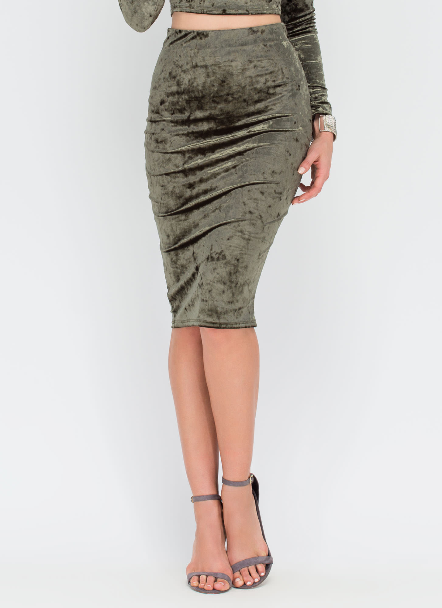 Little Crush Velvet Bodycon Skirt OLIVE