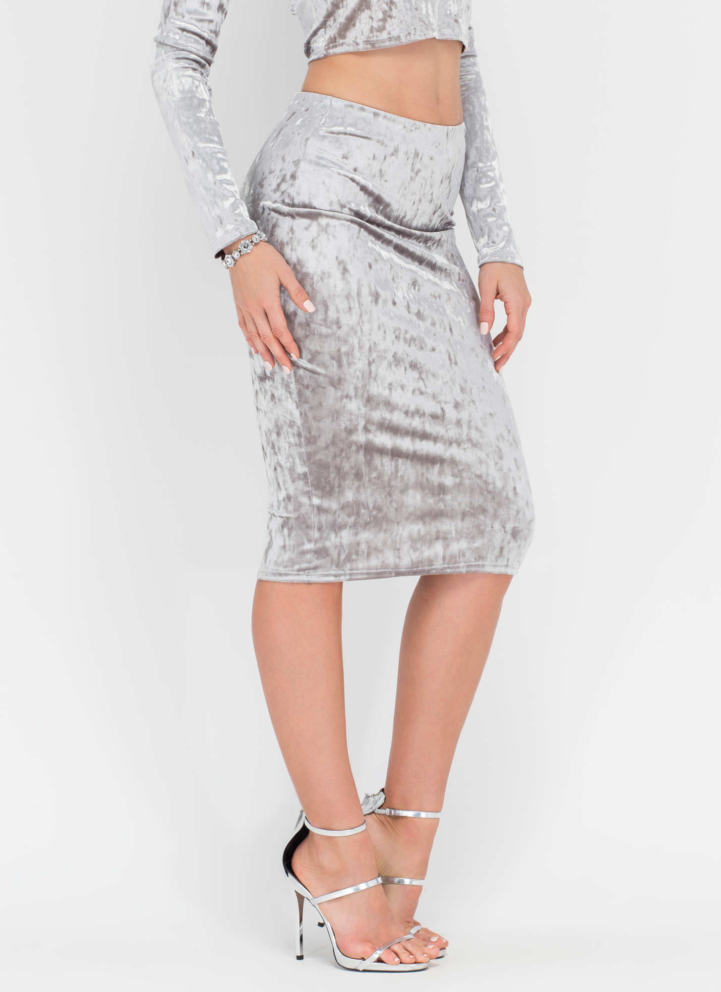 Little Crush Velvet Bodycon Skirt SILVER
