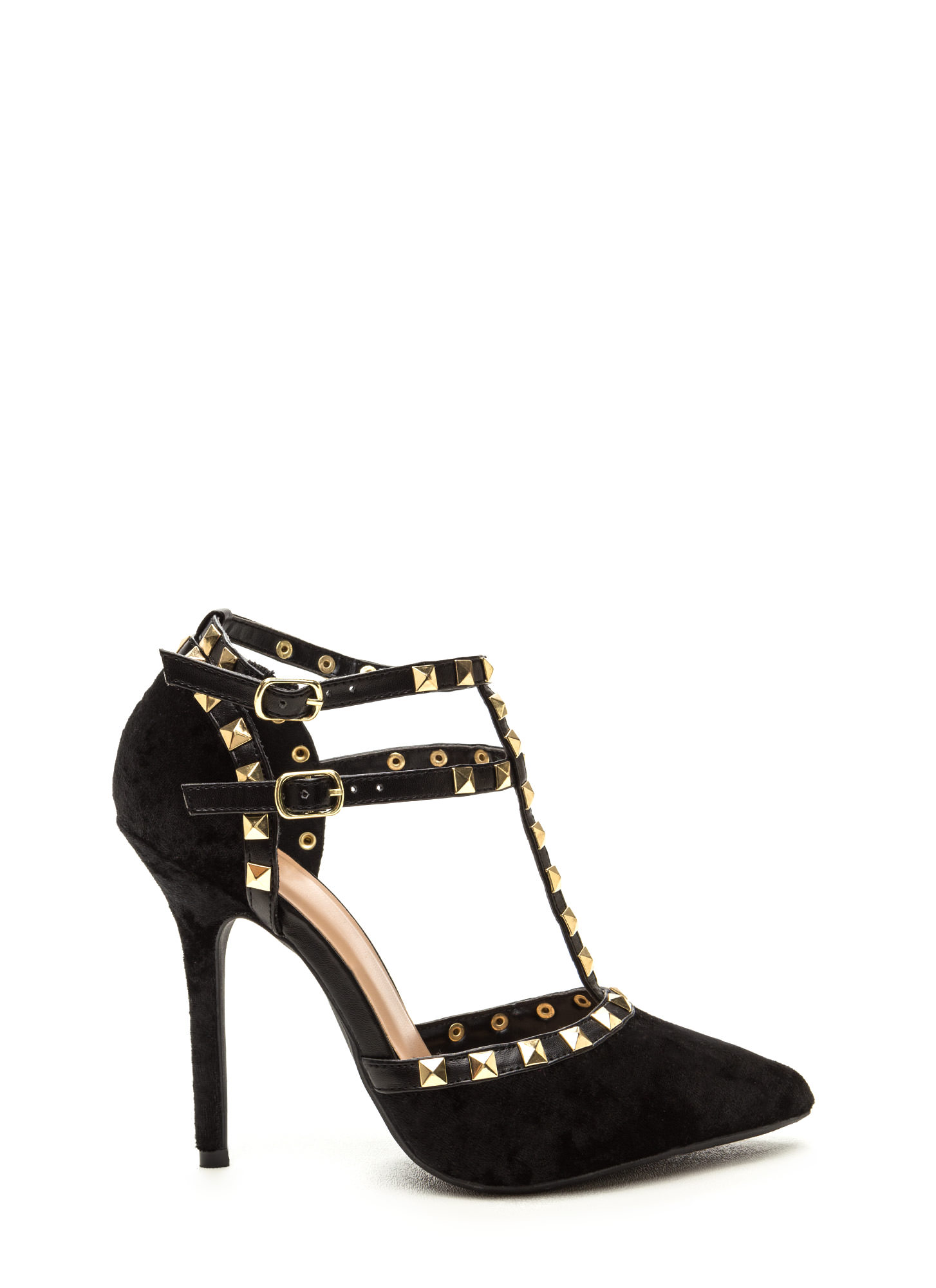 Rocker Status Studded Velvet Caged Heels BLACK