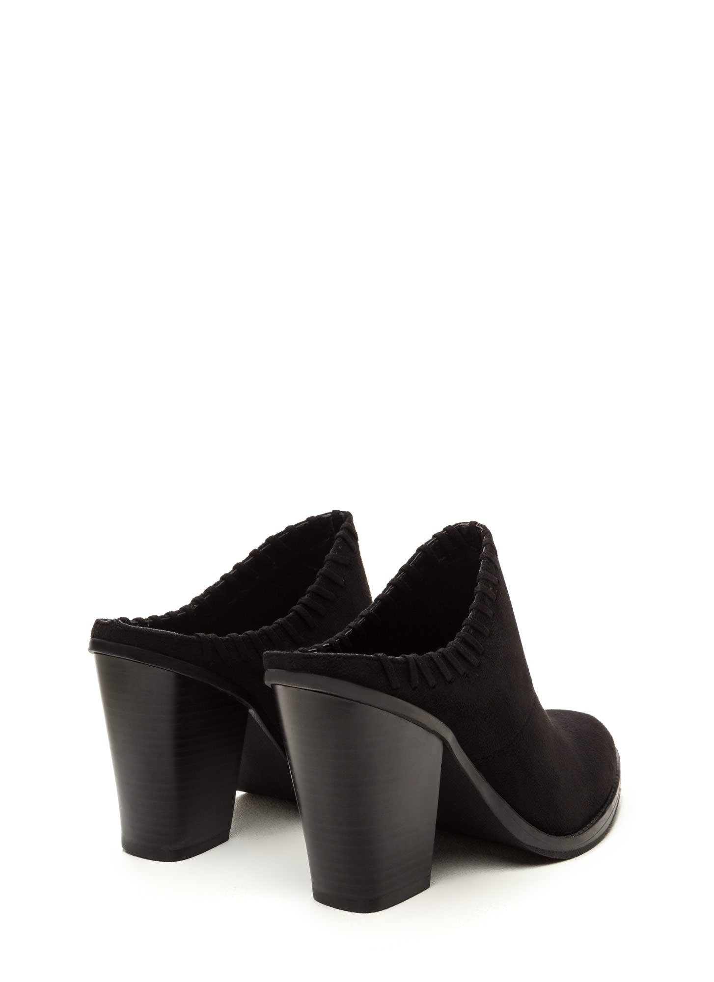 Stitch It Pointy Chunky Mule Heels BLACK
