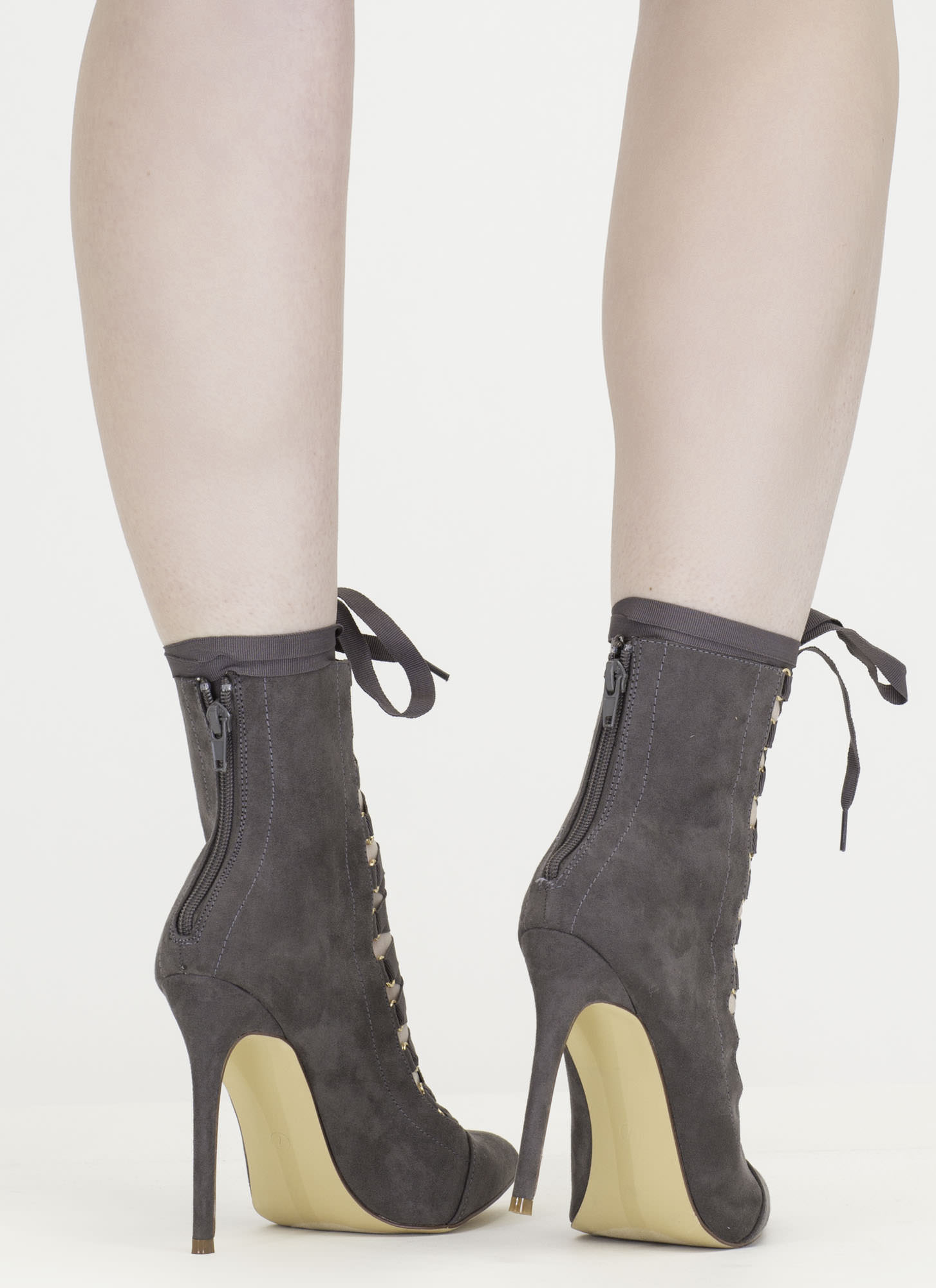 About Town Faux Suede Lace-Up Booties GREY