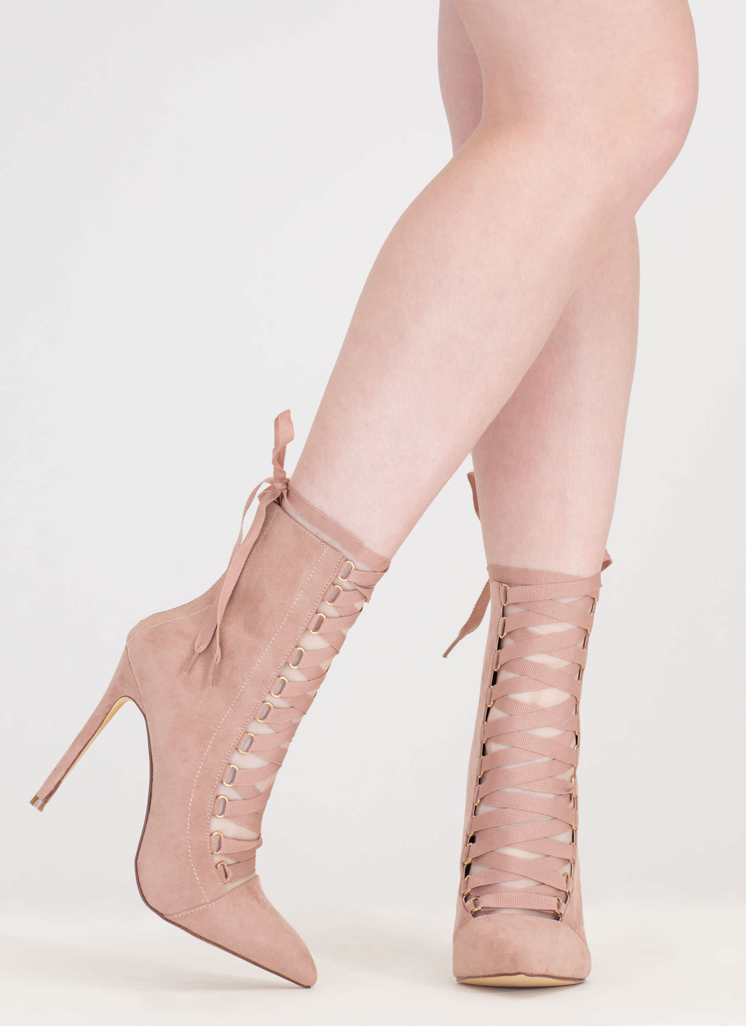 About Town Faux Suede Lace-Up Booties MAUVE