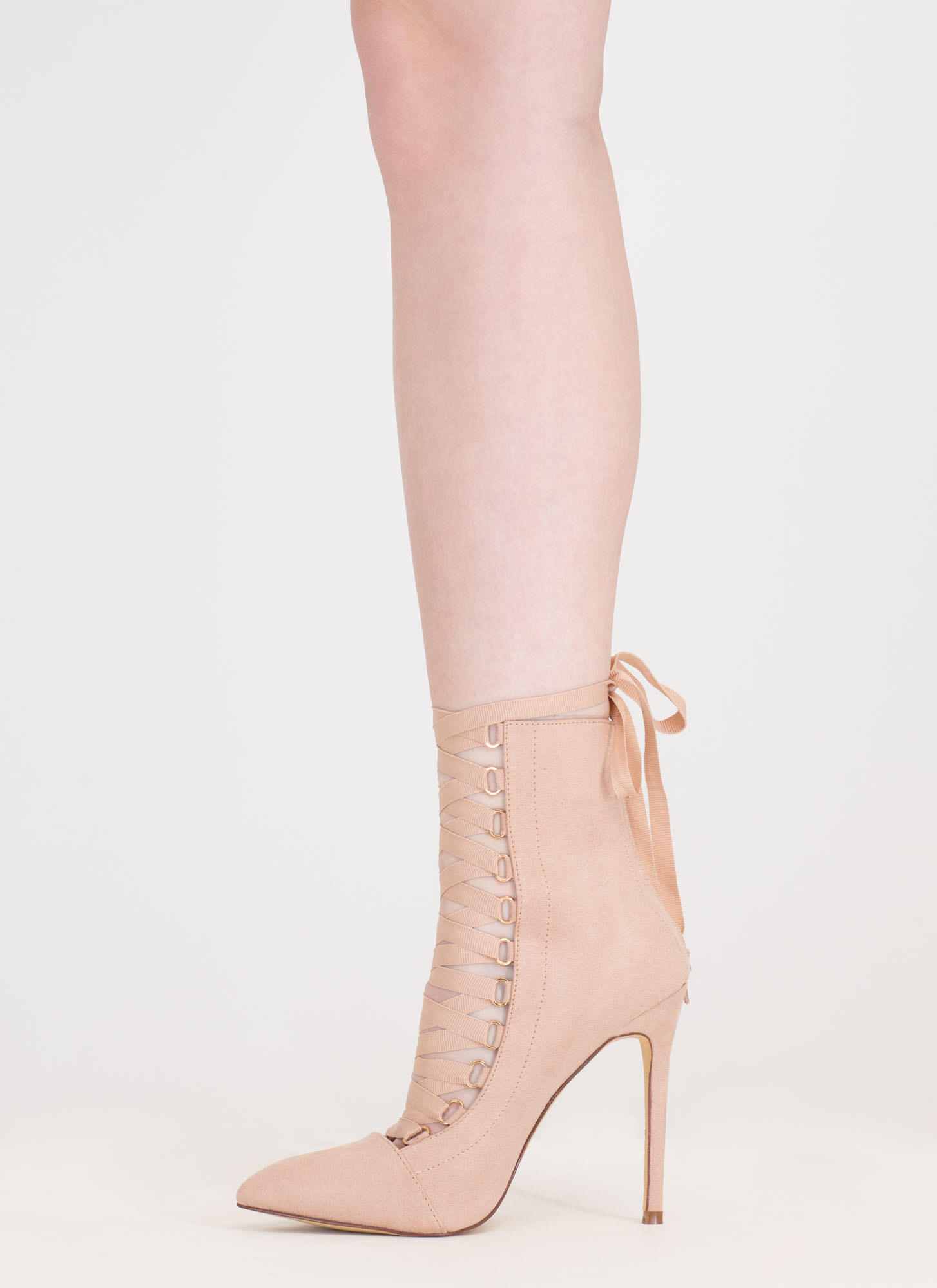 About Town Faux Suede Lace-Up Booties NUDE