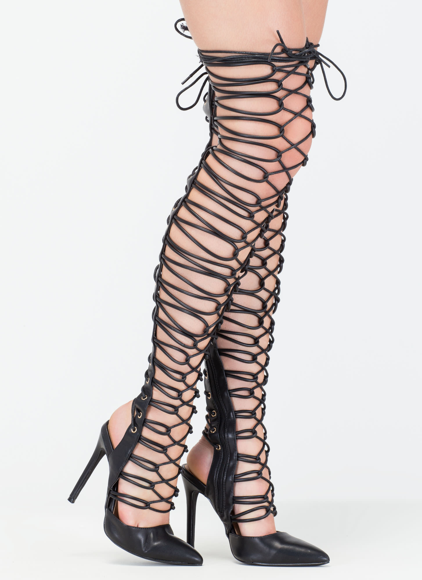 Glam Guru Over-The-Knee Gladiator Heels BLACK