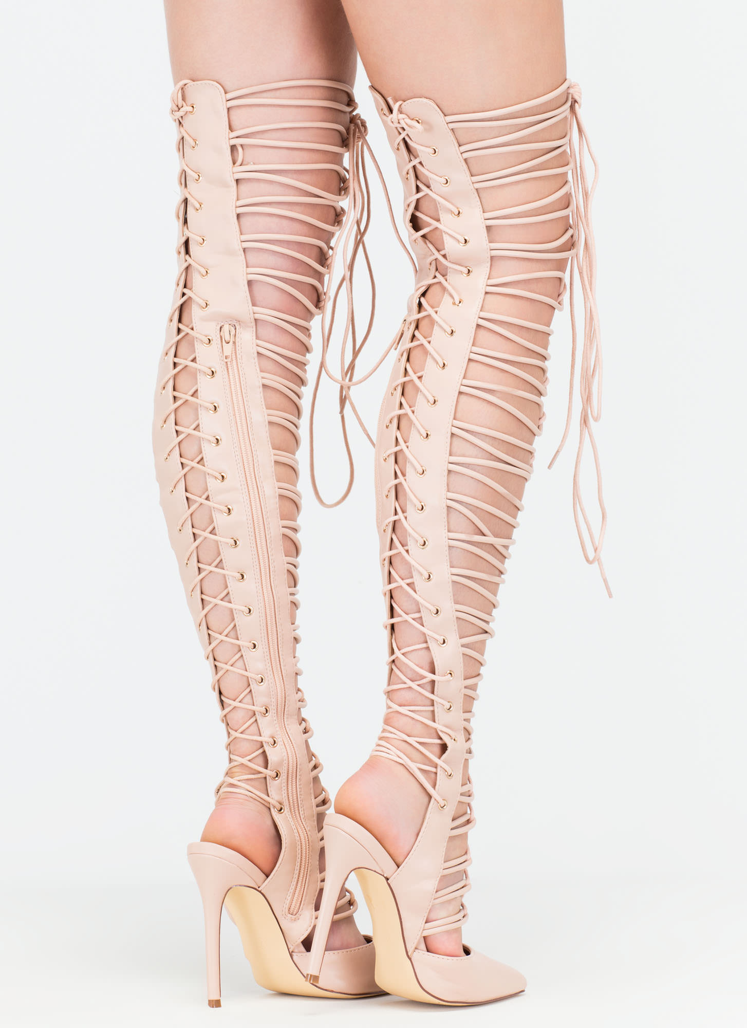 Glam Guru Over-The-Knee Gladiator Heels NUDE