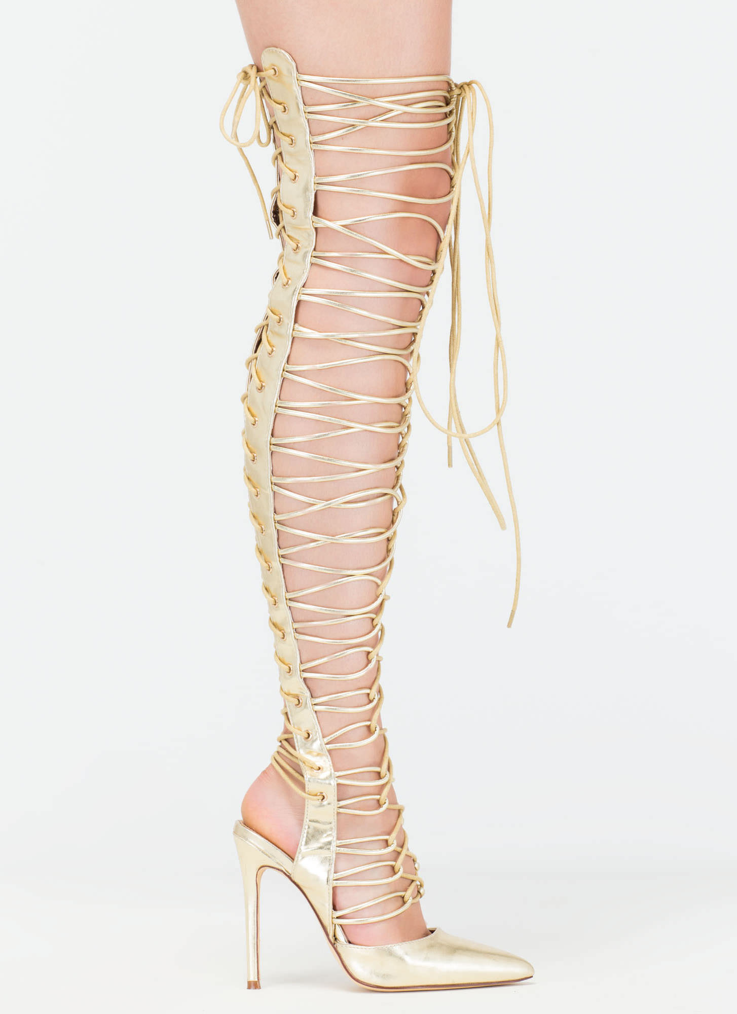 Glam Guru Metallic Gladiator Heels GOLD