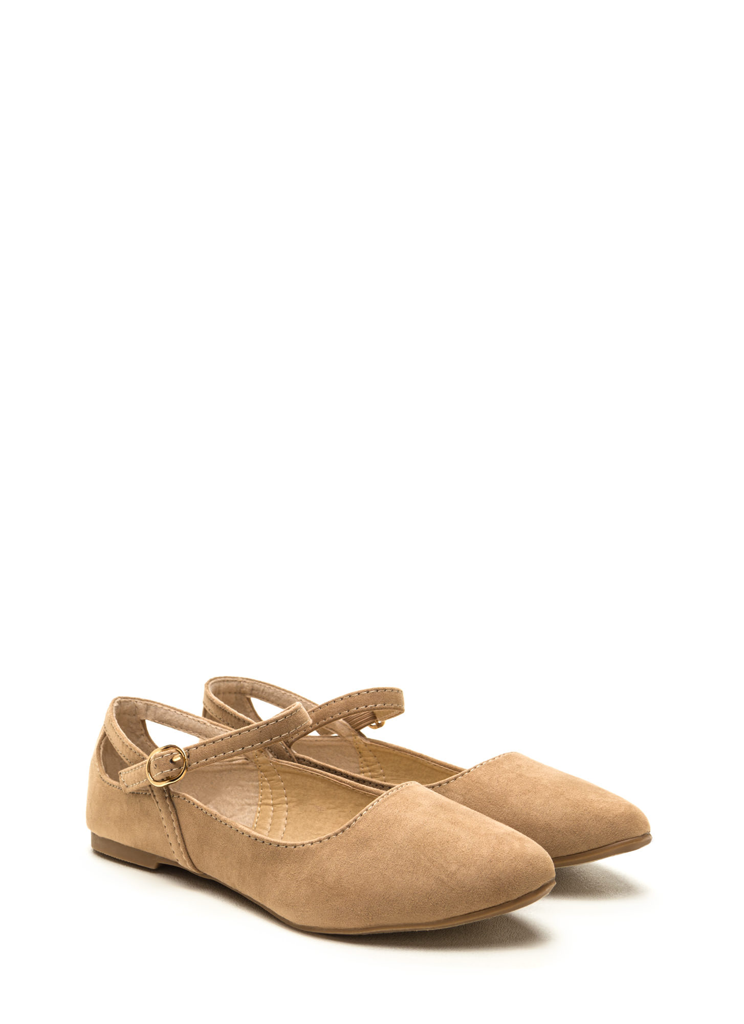 Chic Footnote Pointy Cut-Out Flats BEIGE