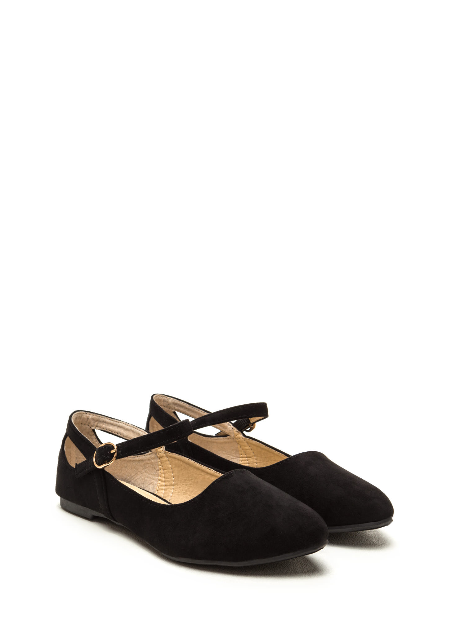 Chic Footnote Pointy Cut-Out Flats BLACK