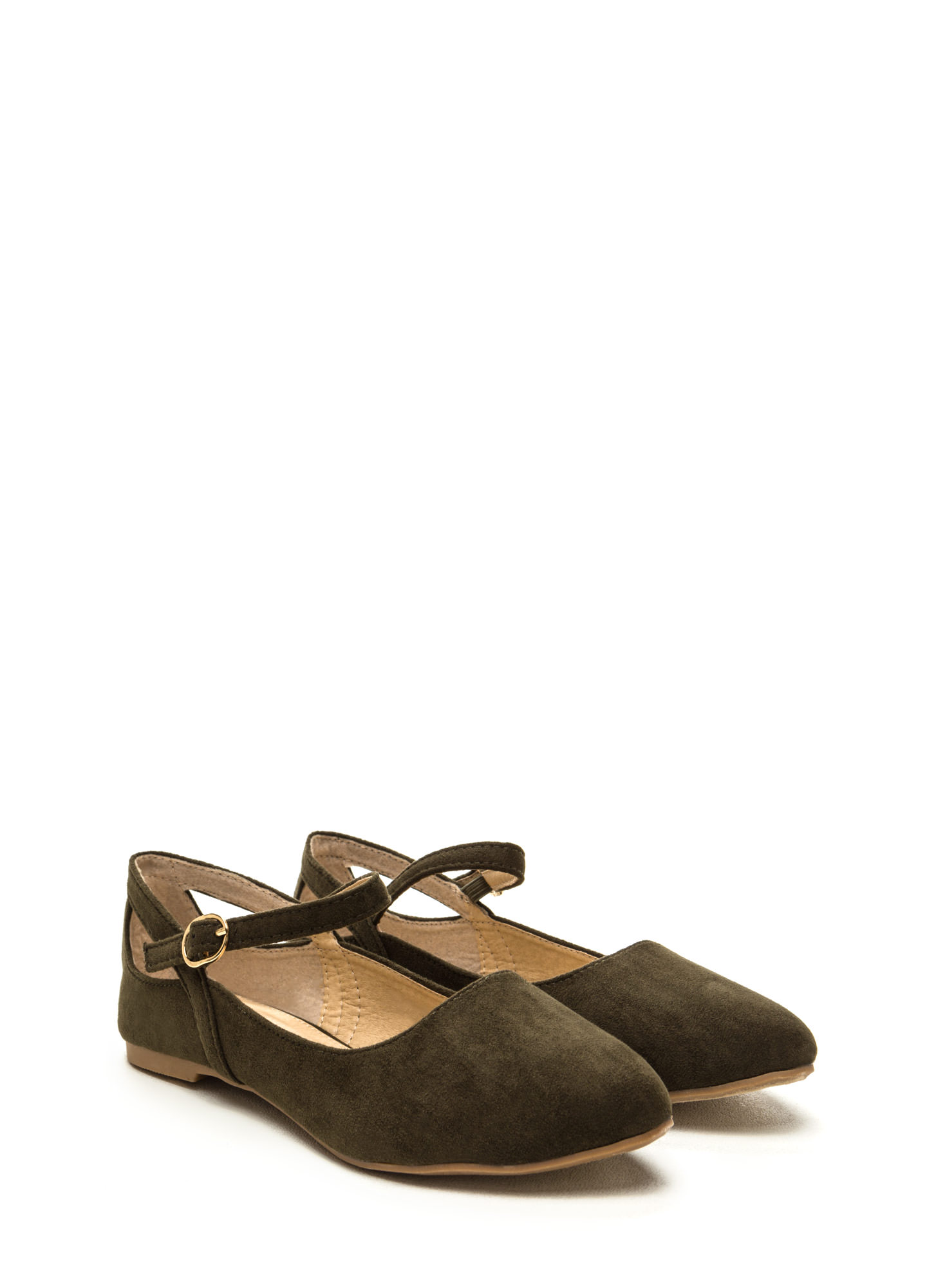 Chic Footnote Pointy Cut-Out Flats OLIVE
