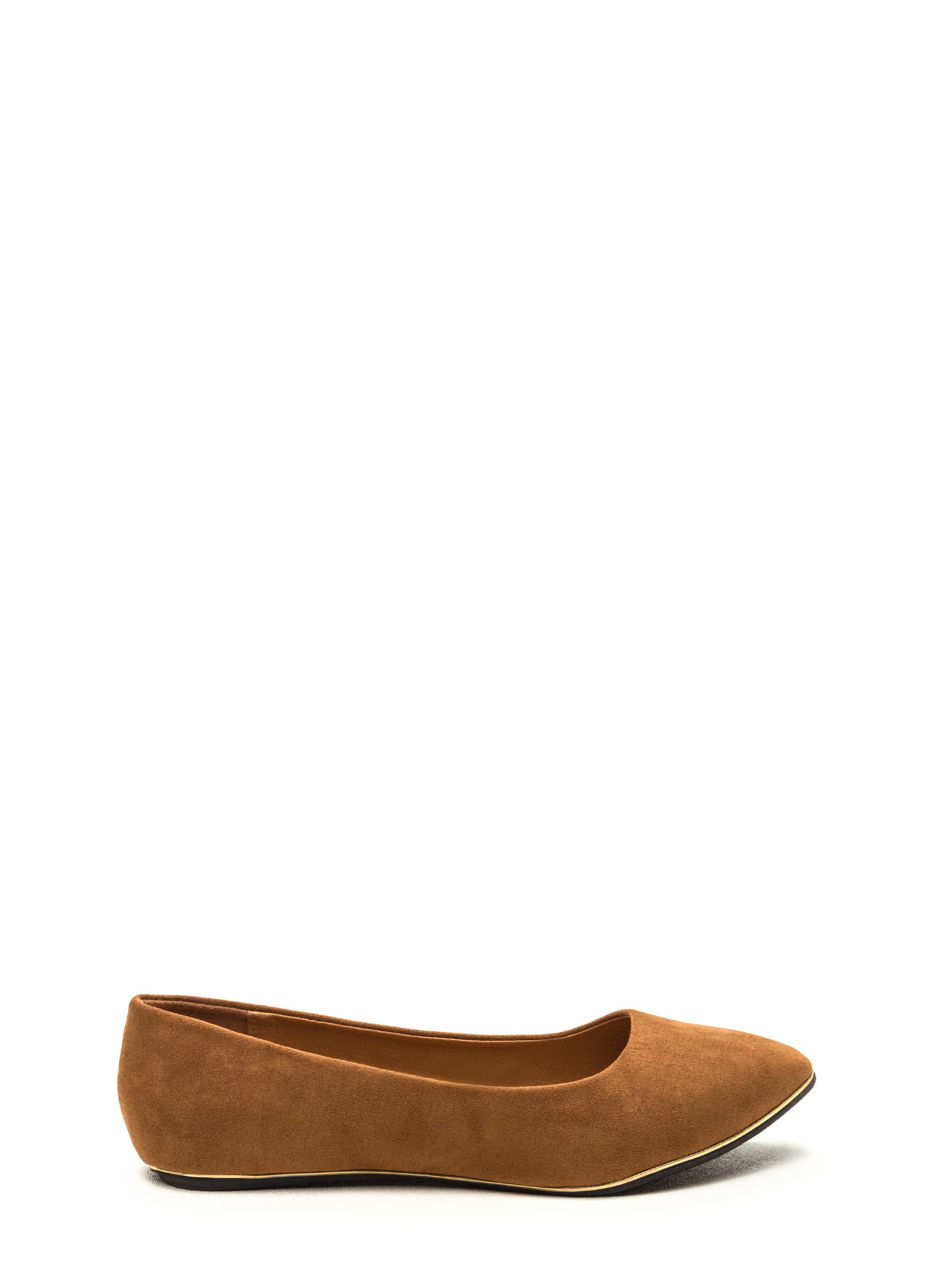 Full Gleam Ahead Pointy Faux Suede Flats TAN