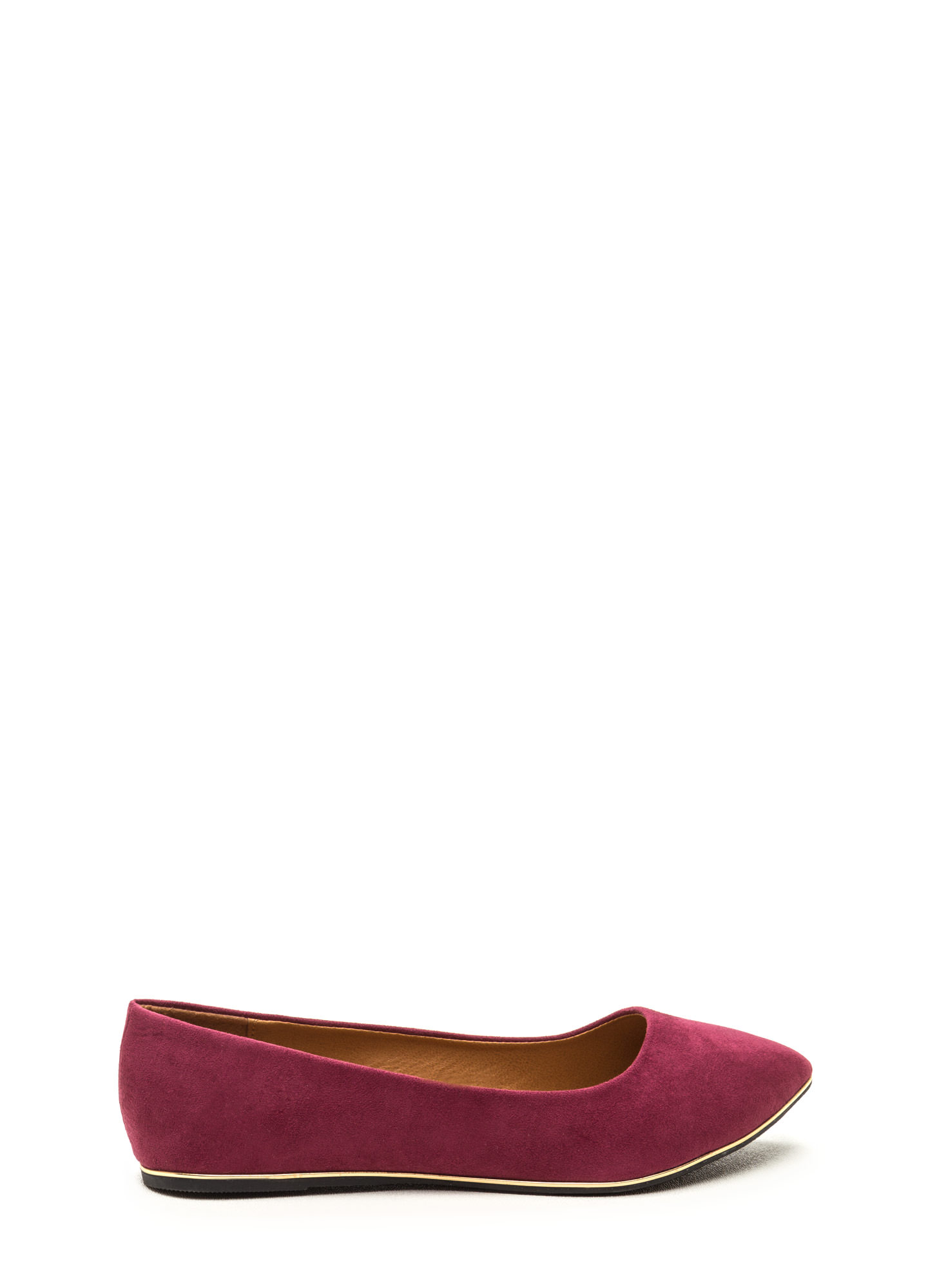 Full Gleam Ahead Pointy Faux Suede Flats WINE