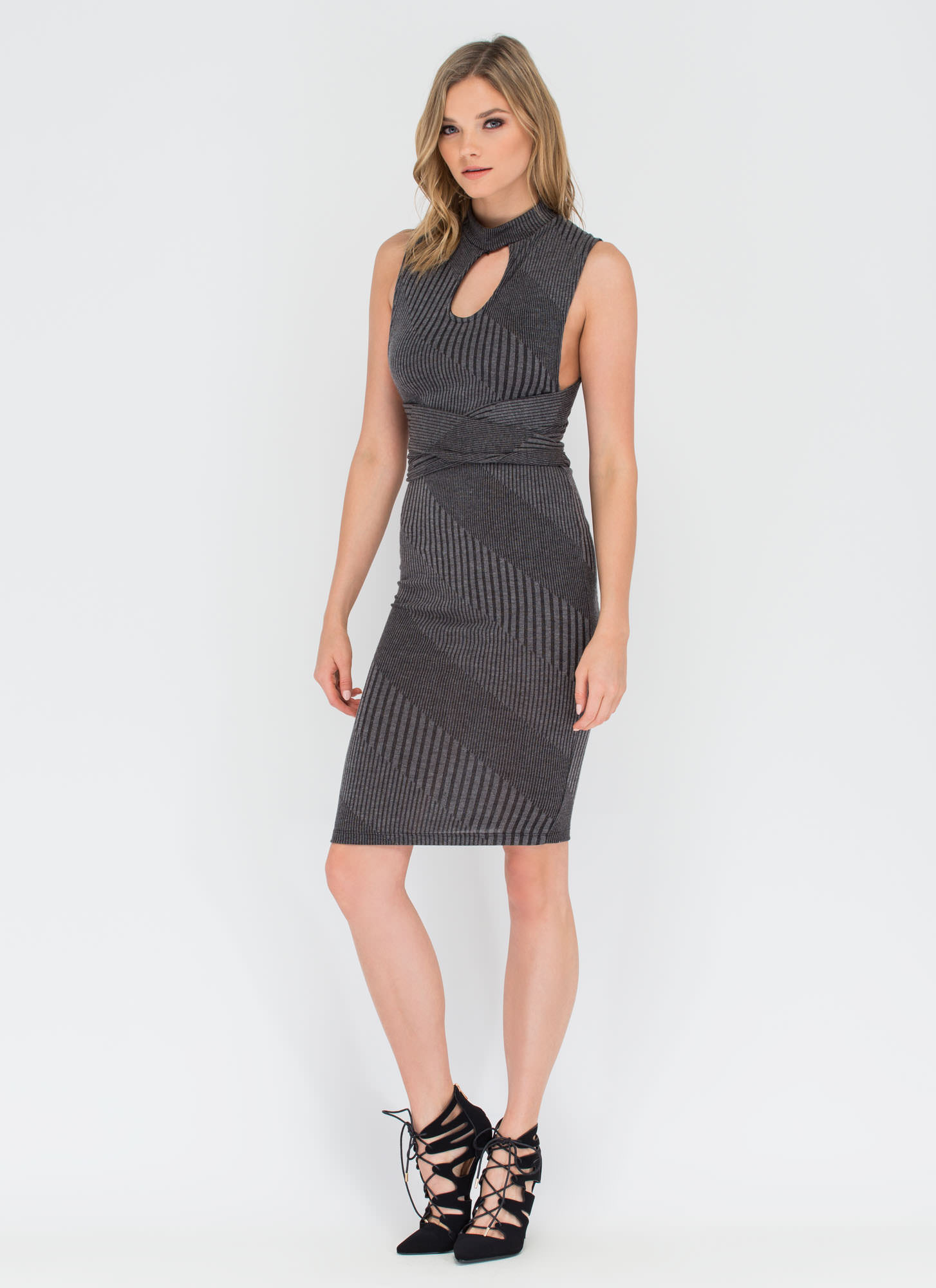 Between The Lines Tied-Up Midi Dress GREY