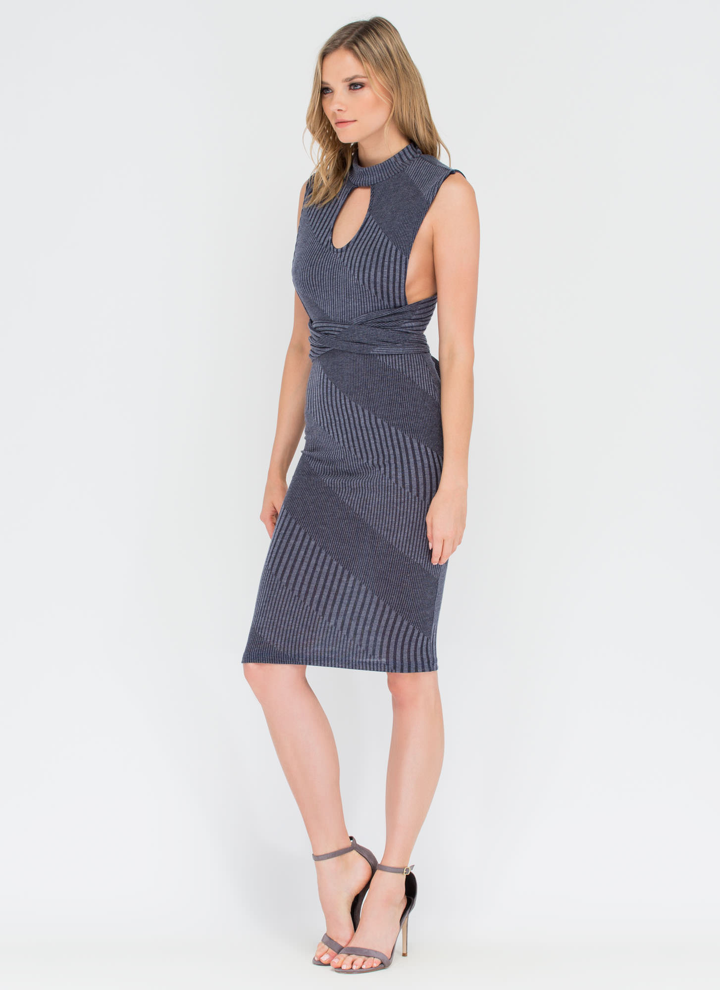 Between The Lines Tied-Up Midi Dress NAVY