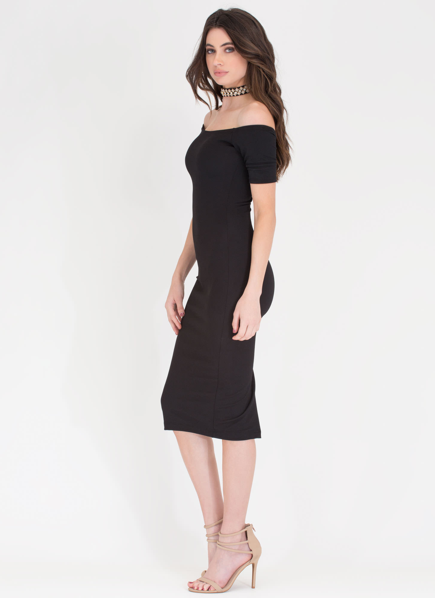 Sparkly Choice Off-Shoulder Choker Dress BLACK