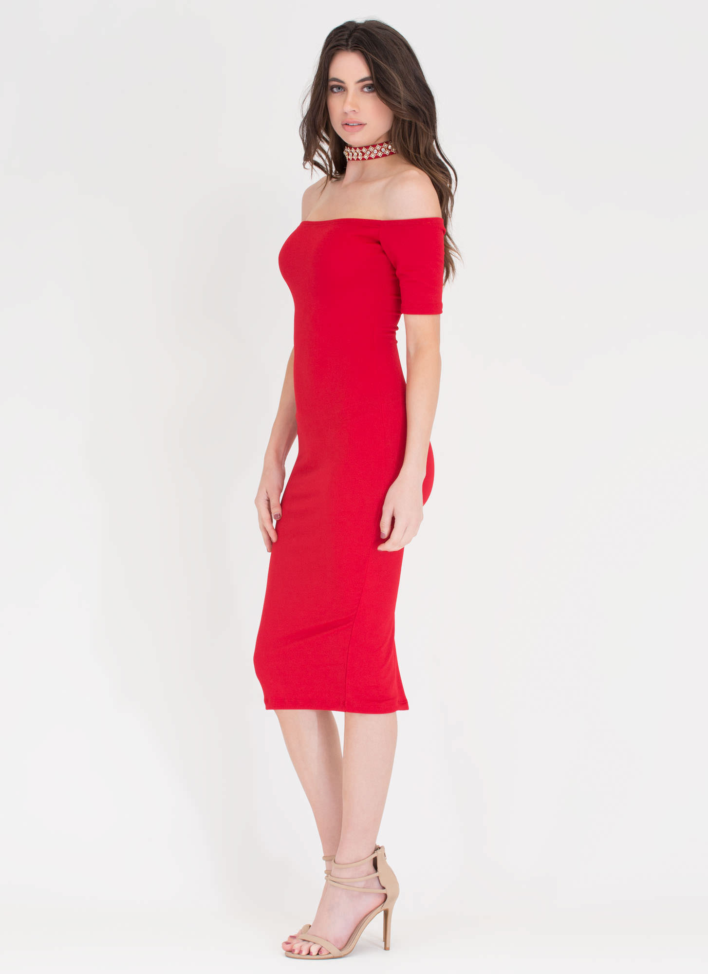 Sparkly Choice Off-Shoulder Choker Dress RED