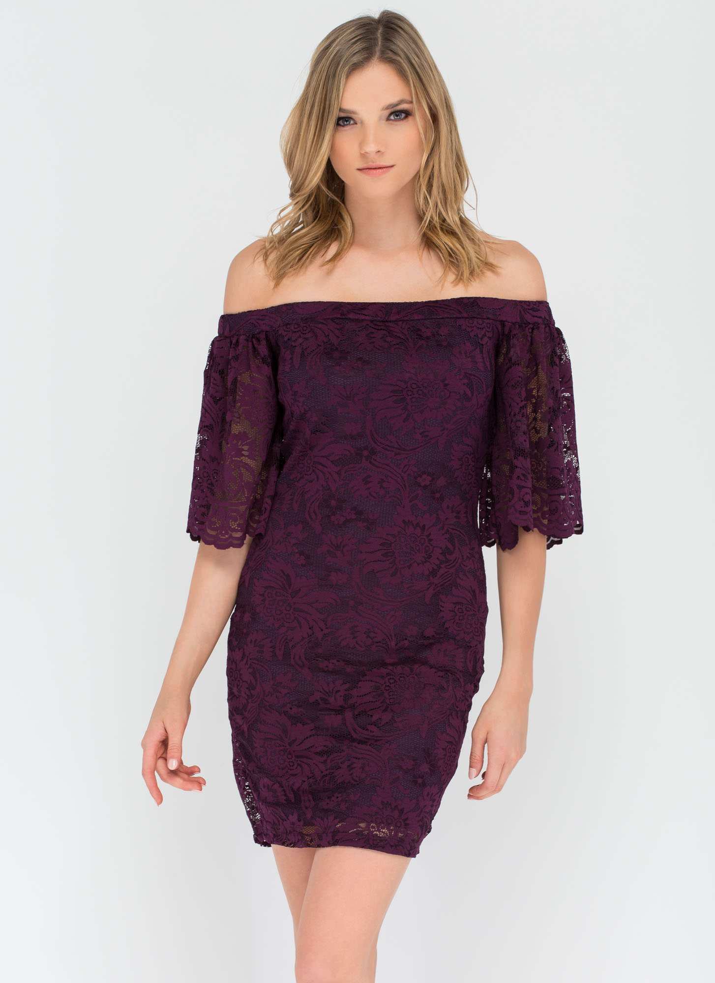 Ready To Ruffle Off-Shoulder Lace Dress PURPLE