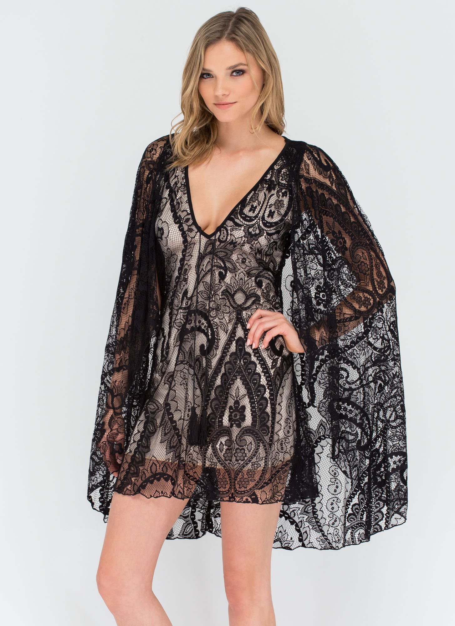 Lace You There Tassel 'N Cape Dress BLACK