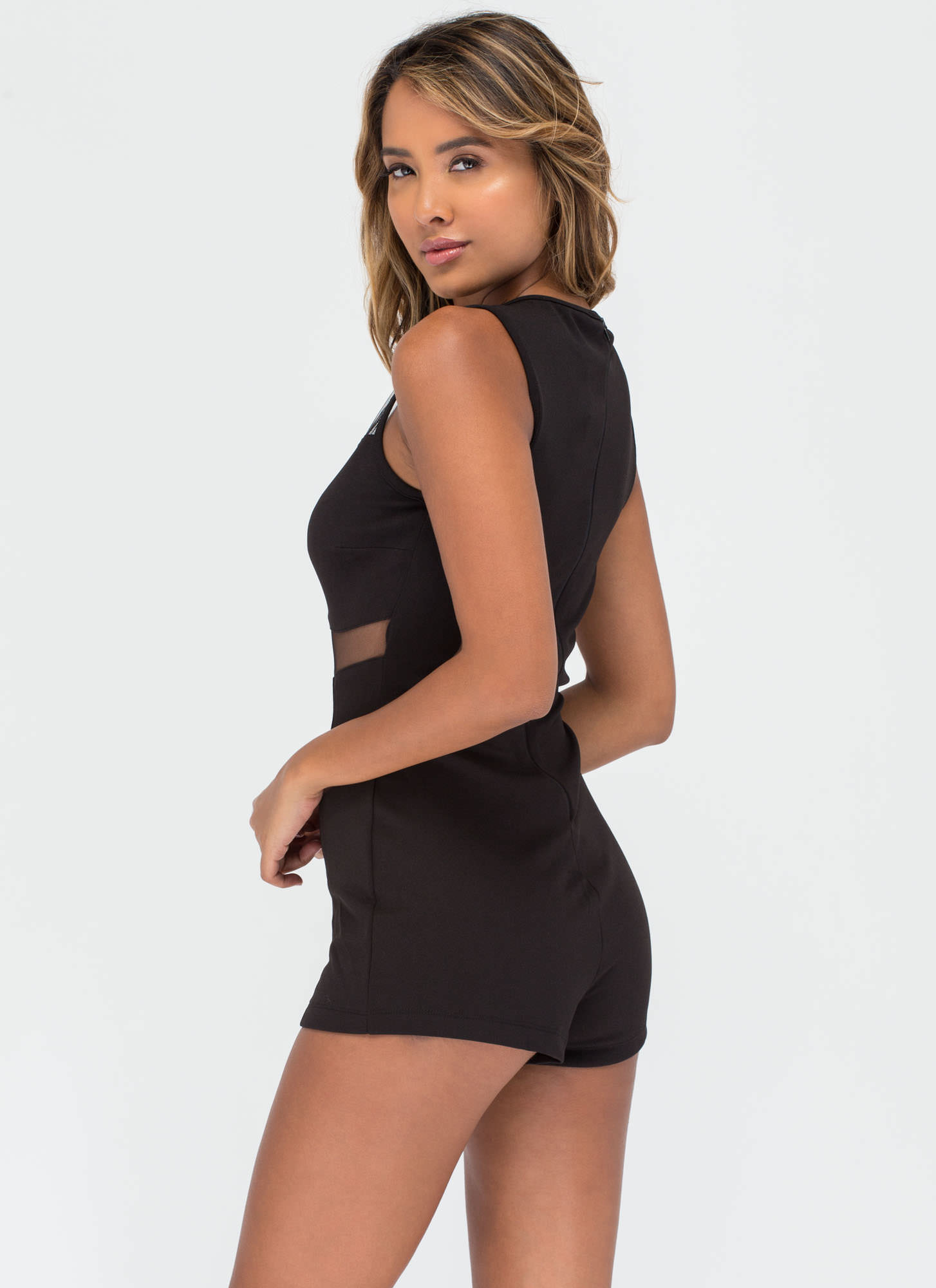 Taking Shape Mesh Inset Romper BLACK