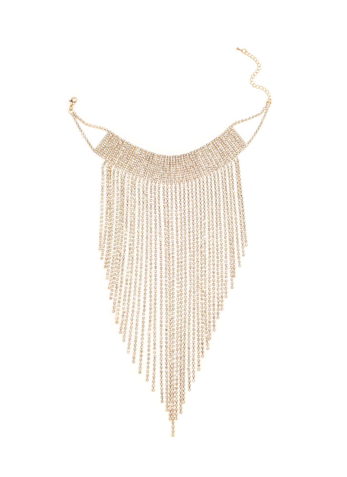 It's Raining Jewels Statement Necklace GOLDCLEAR