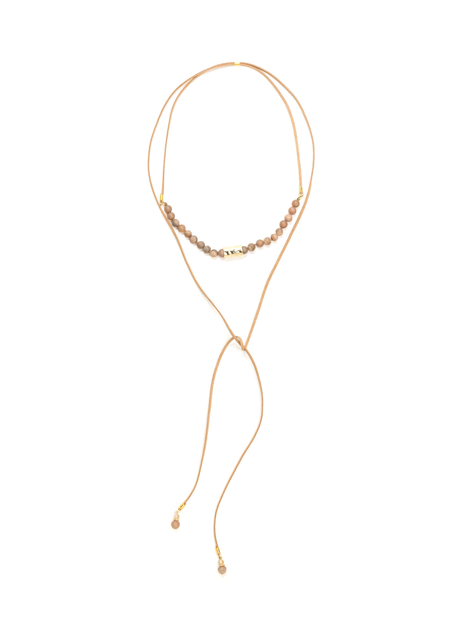 Bad To The Stone Beaded Bolo Necklace TAUPEMULTI