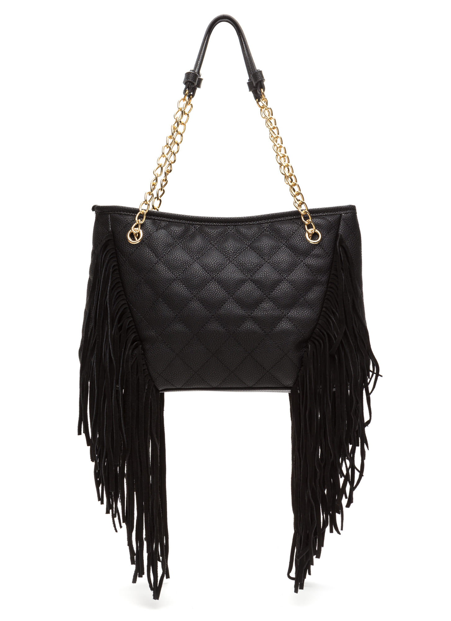 Luxe So Good Quilted Fringed Purse BLACK