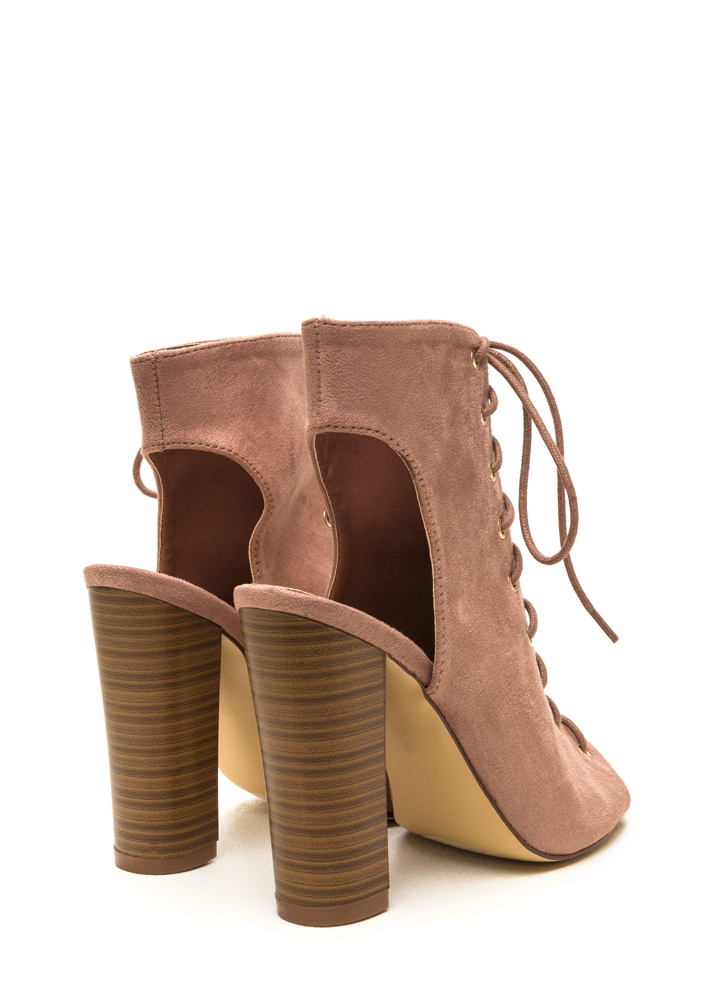 Chic Outlook Lace-Up Chunky Heels MAUVE