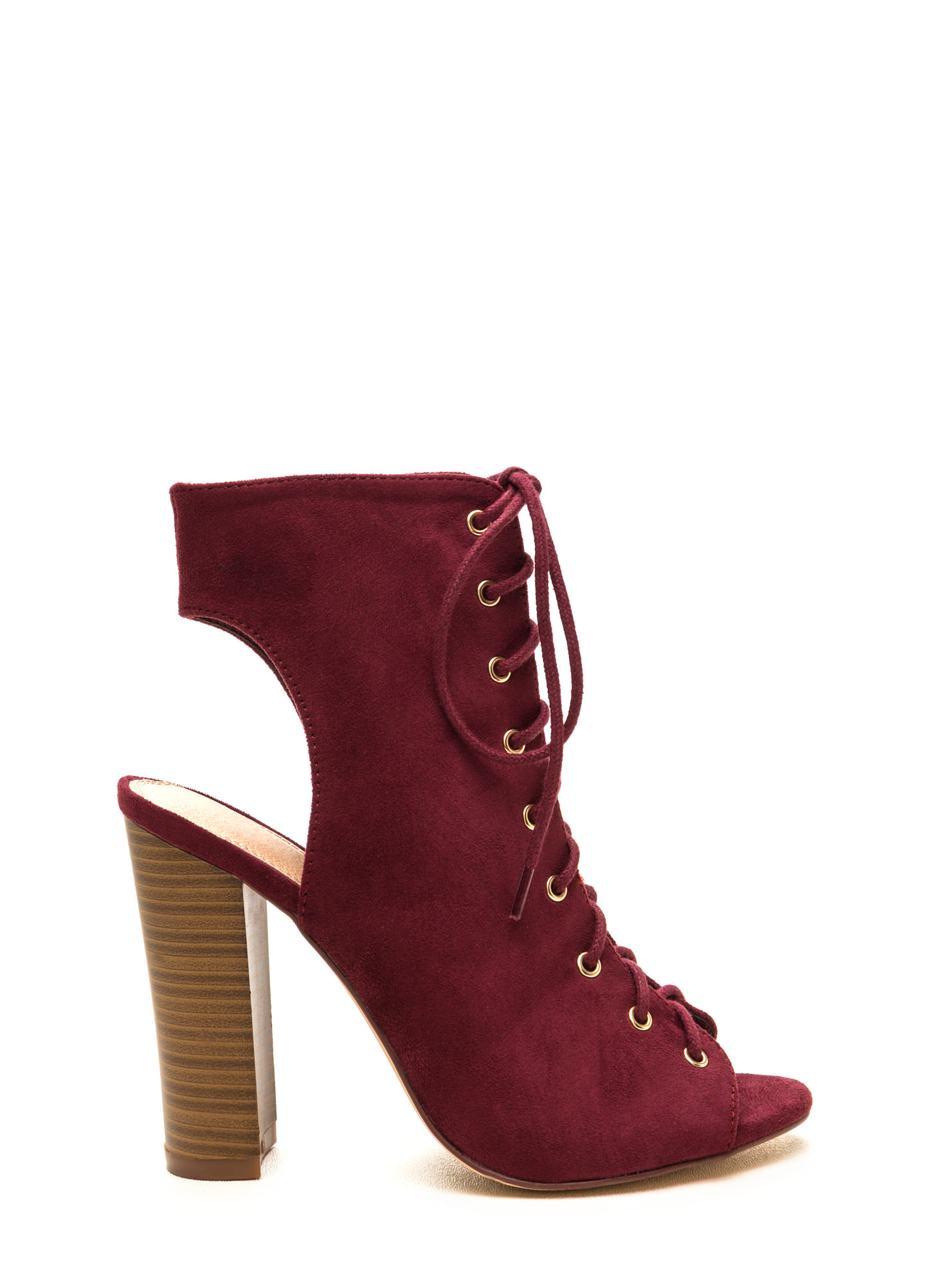 Chic Outlook Lace-Up Chunky Heels WINE