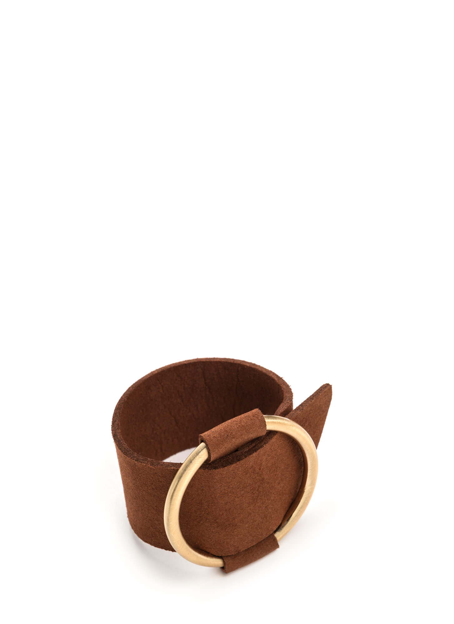 Give Me A Ring Wide Faux Nubuck Bracelet BROWN