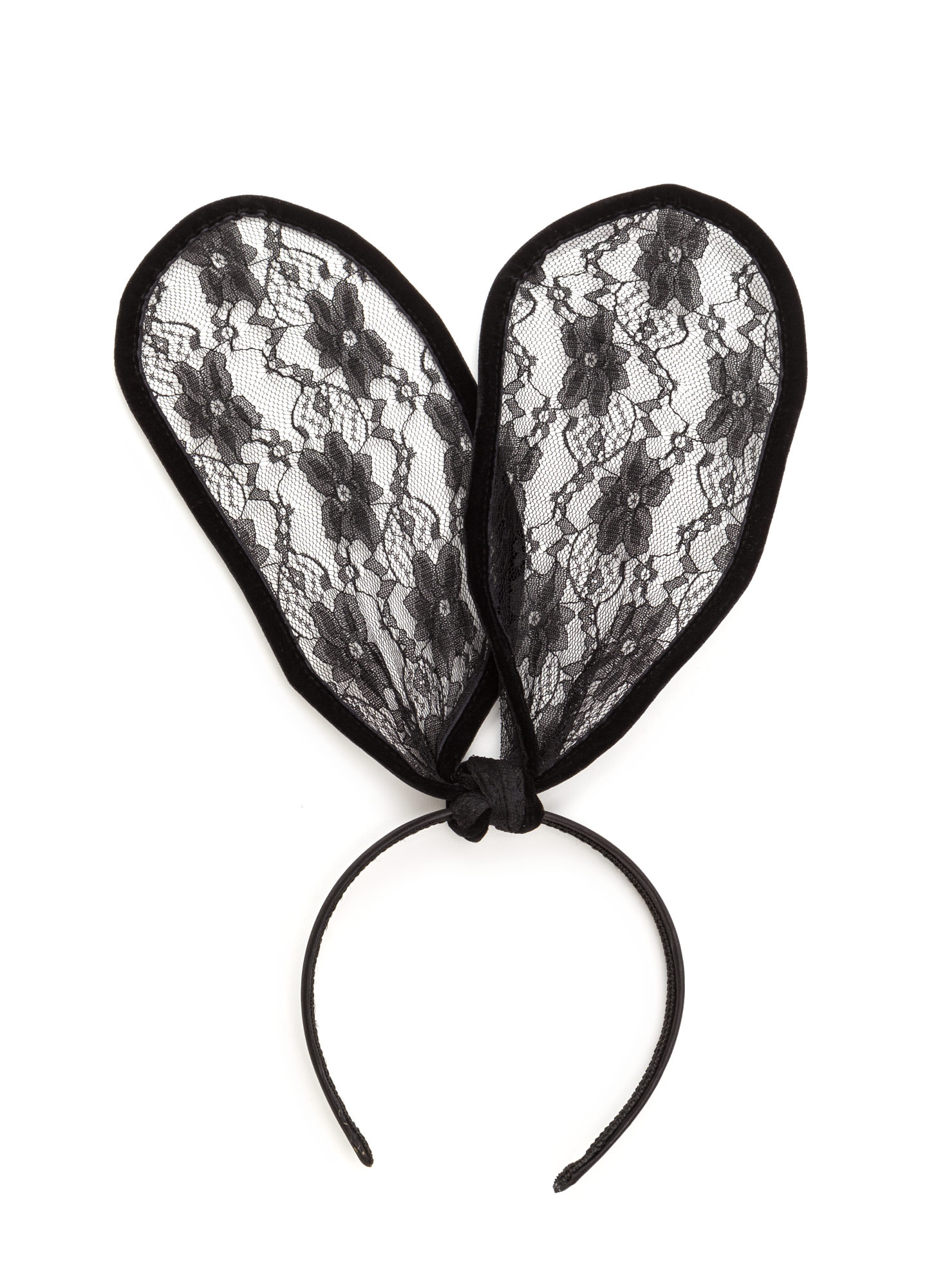 Lace Get It On Bunny Ears Headband BLACK