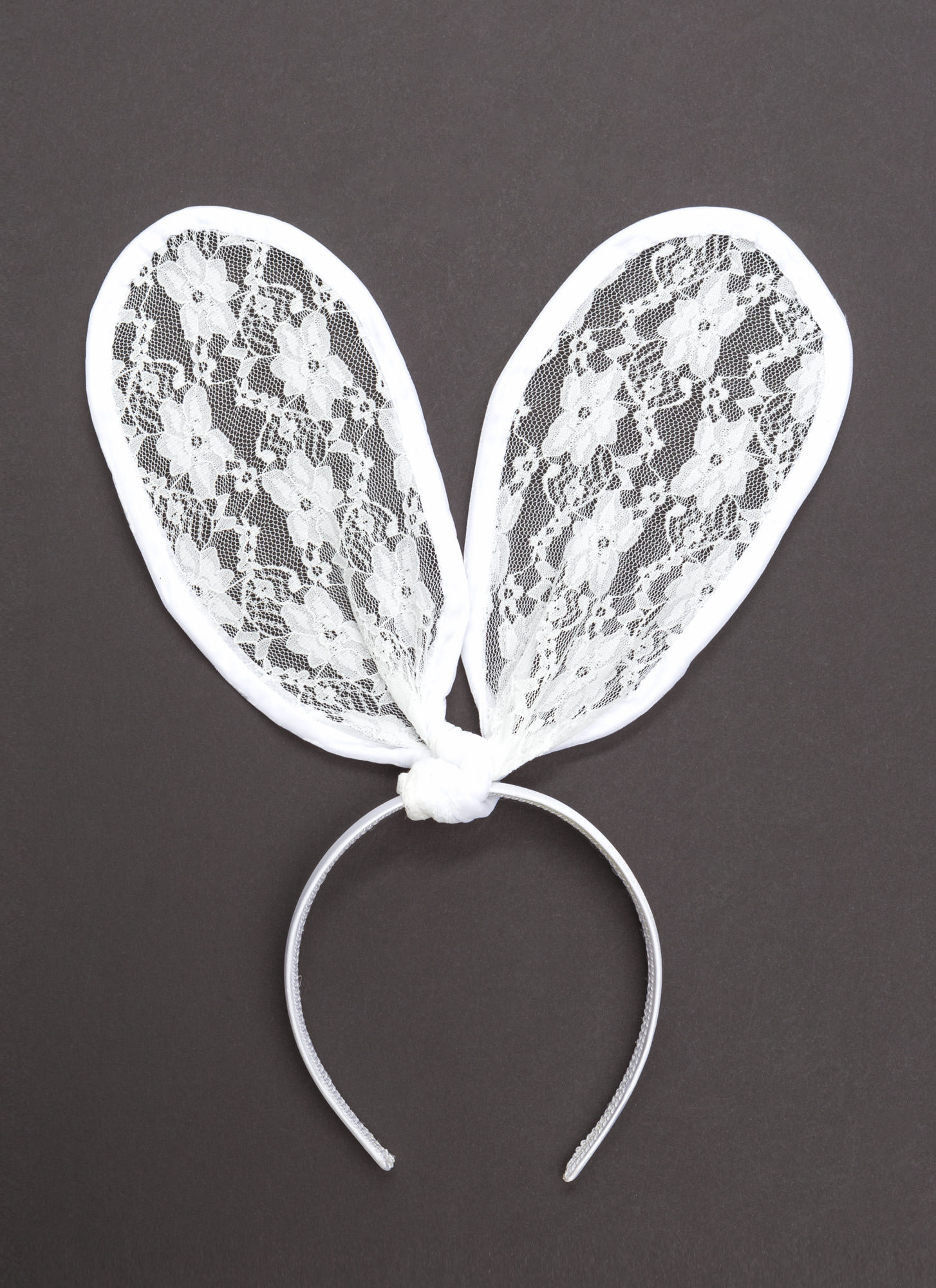 Lace Get It On Bunny Ears Headband WHITE