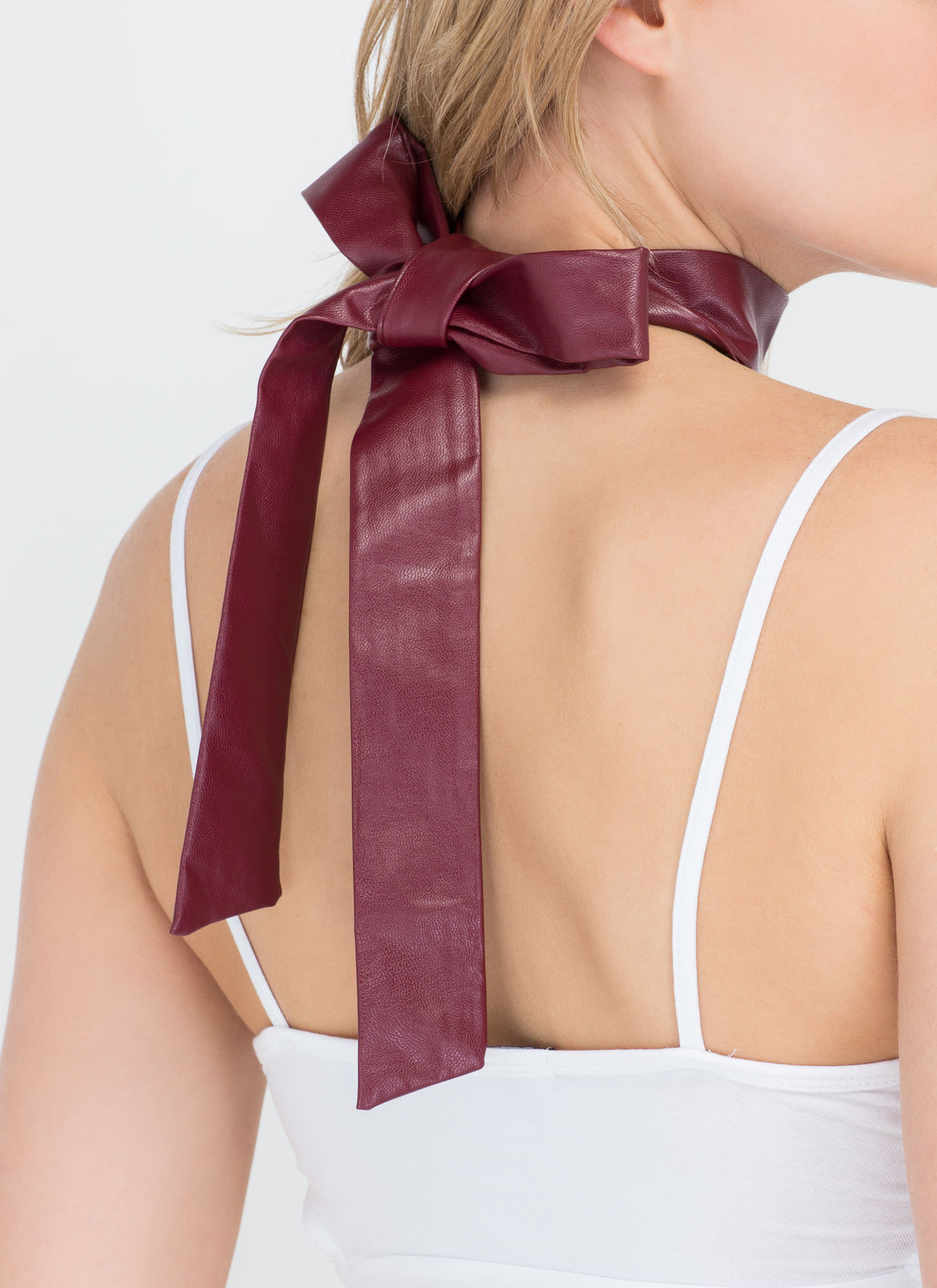 Multiple Choice Test Strappy Necklace BURGUNDY