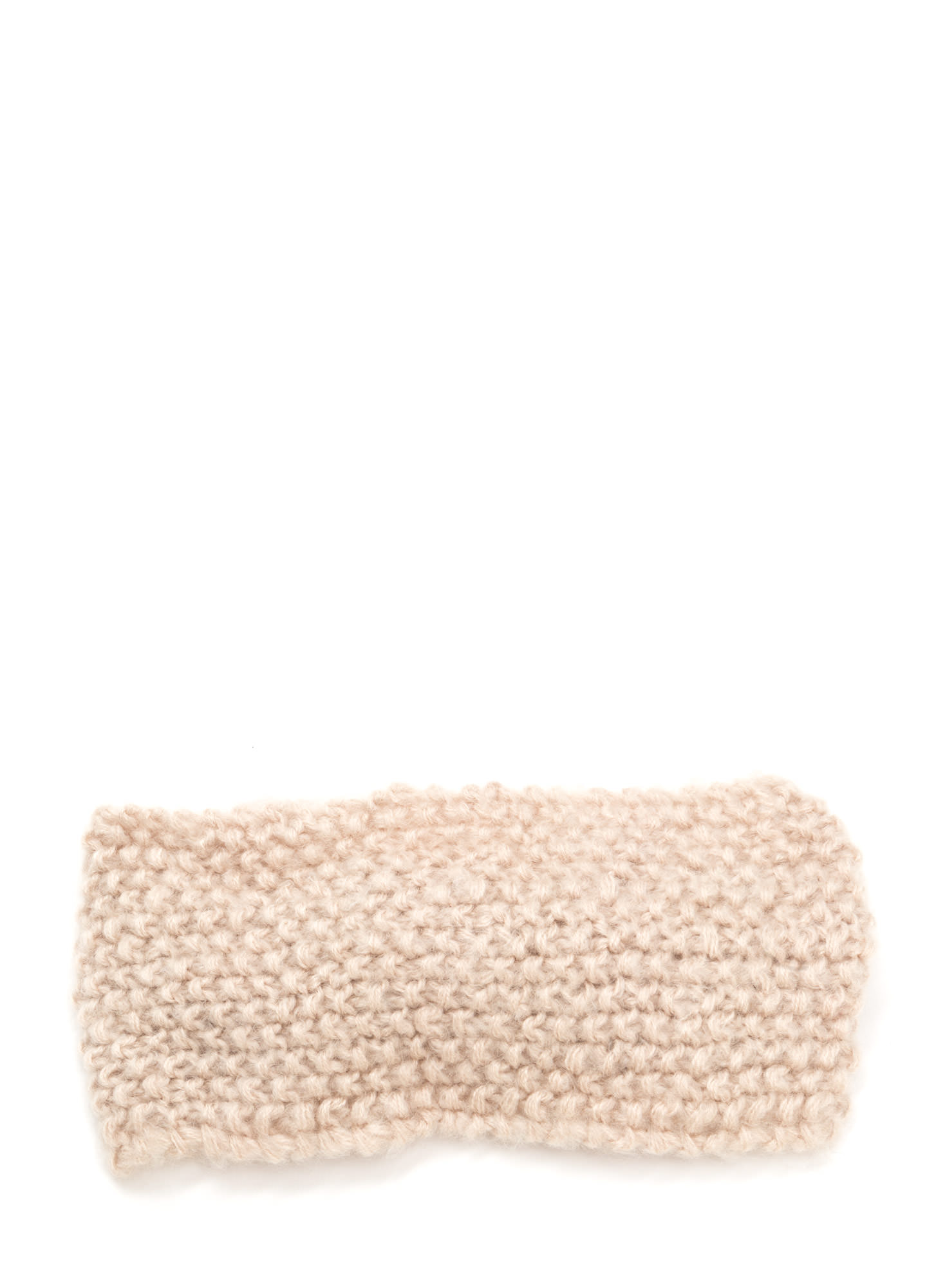 Bow Over Here Wide Knit Headband BEIGE