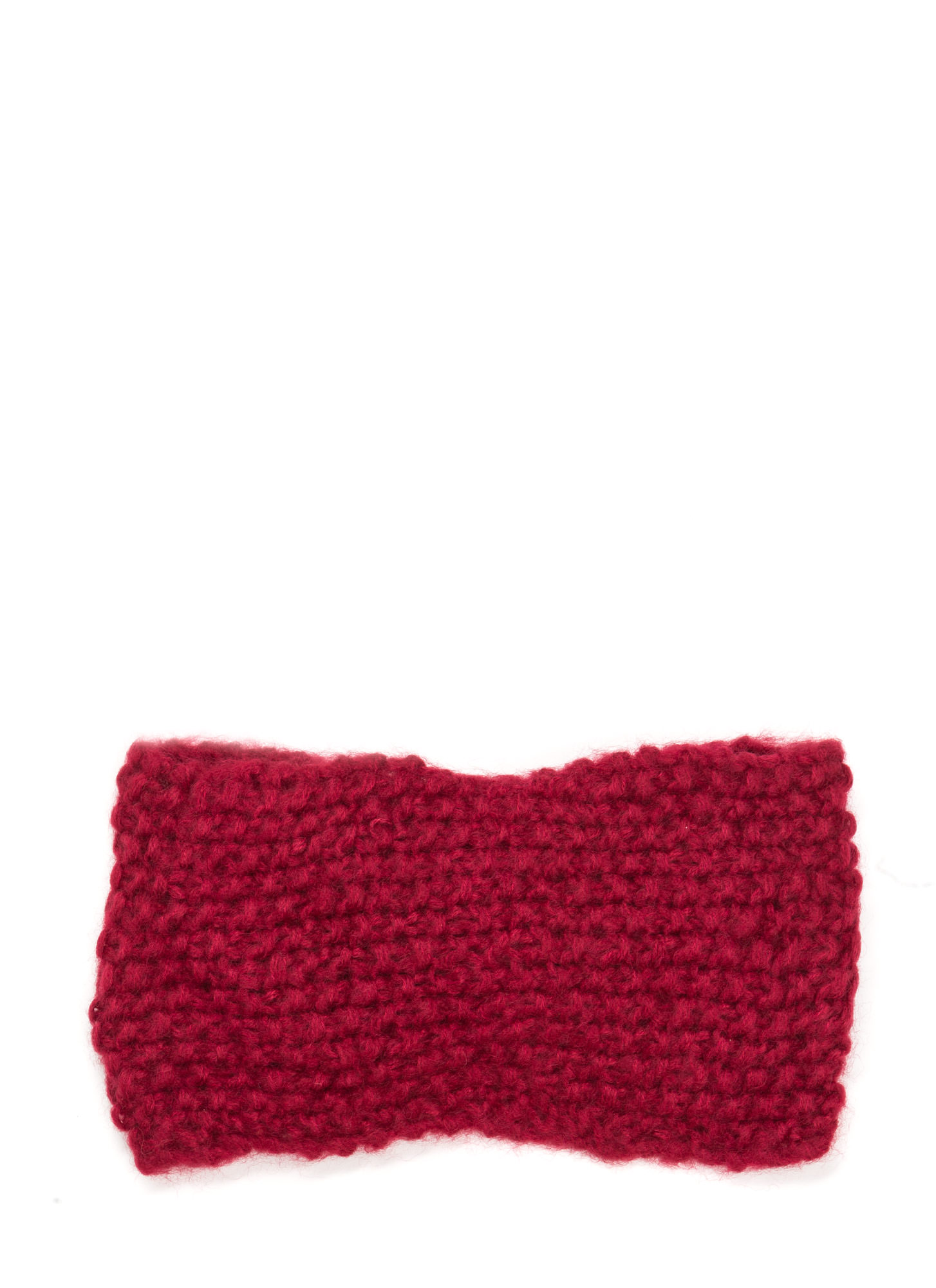 Bow Over Here Wide Knit Headband BURGUNDY