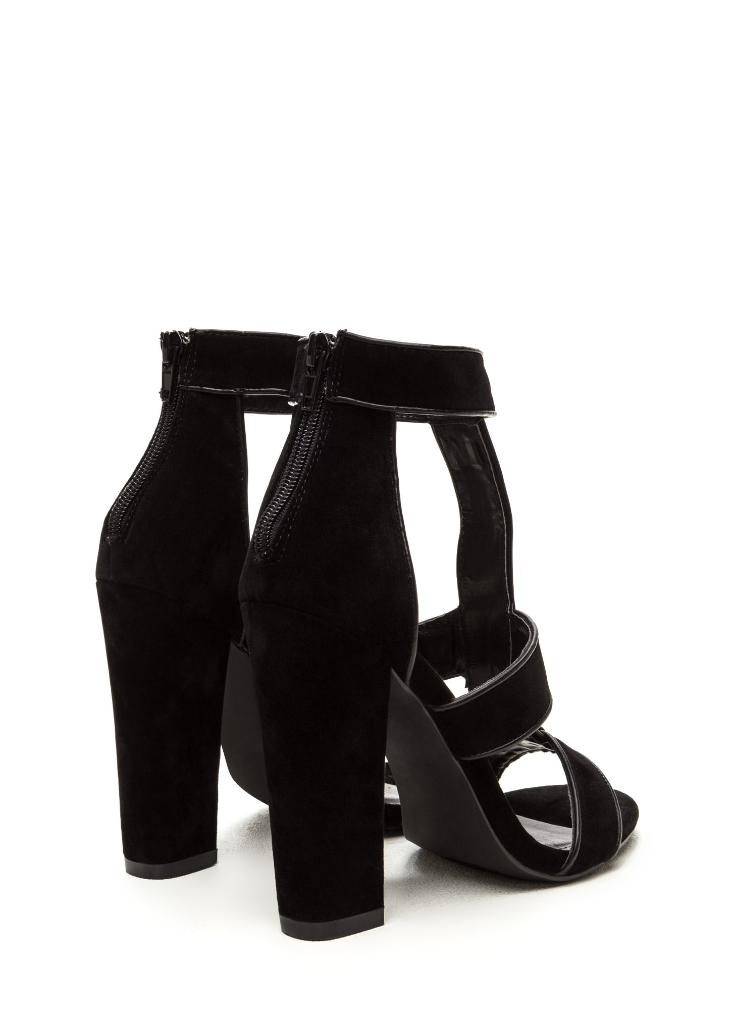 Double Tap Velvet T-Strap Caged Heels BLACK