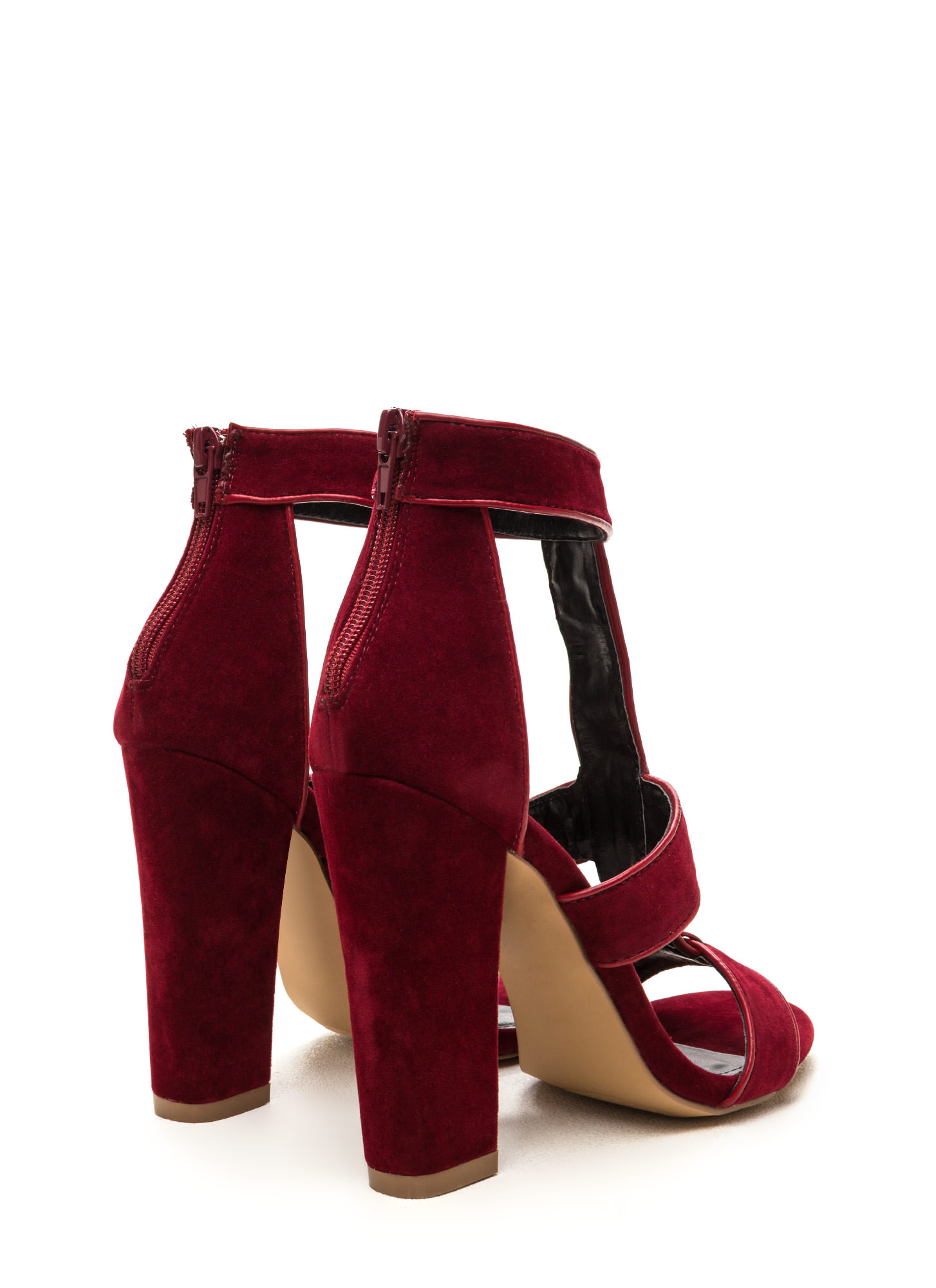 Double Tap Velvet T-Strap Caged Heels WINE