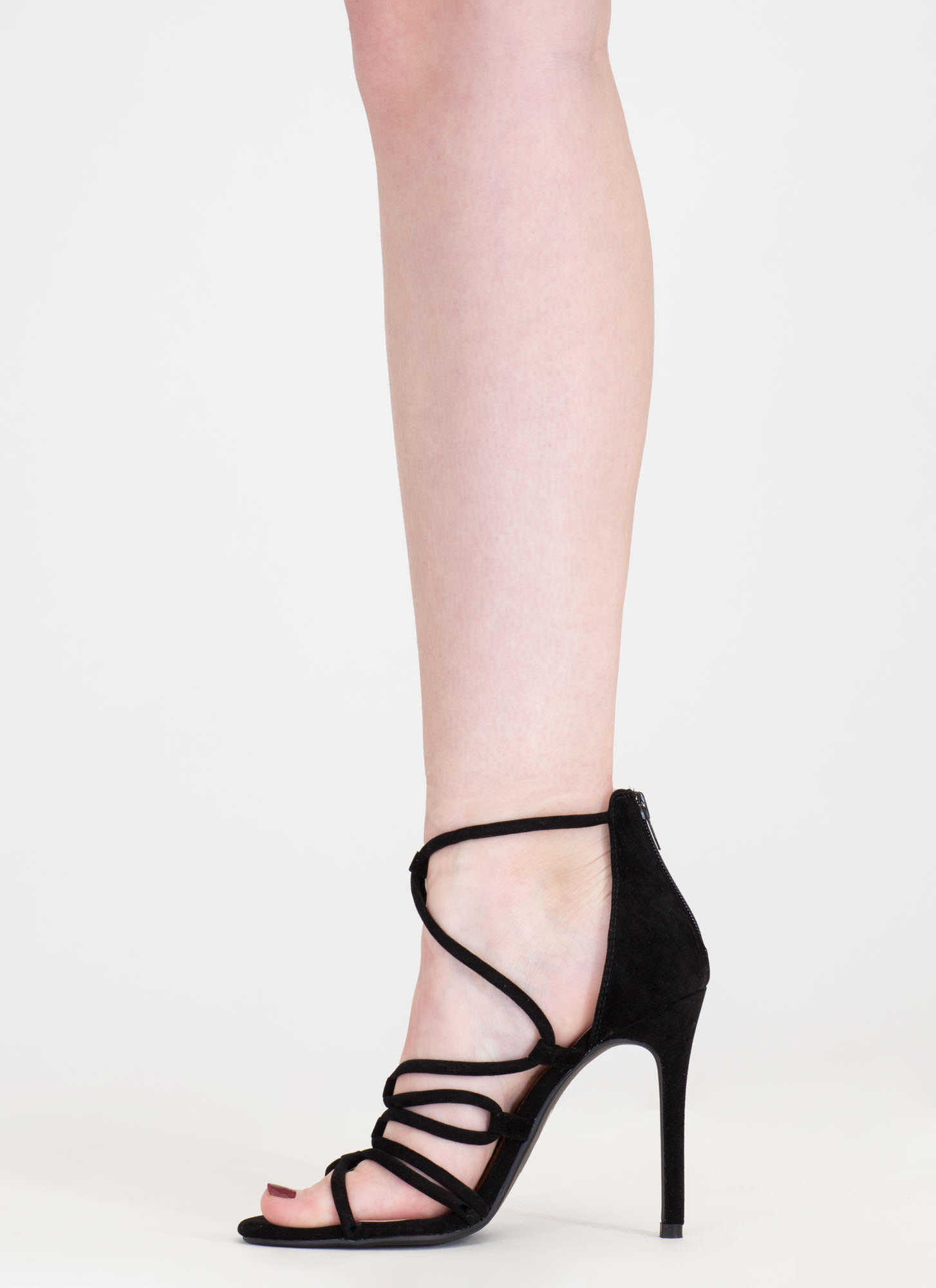 Loop There It Is Caged Stiletto Heels BLACK
