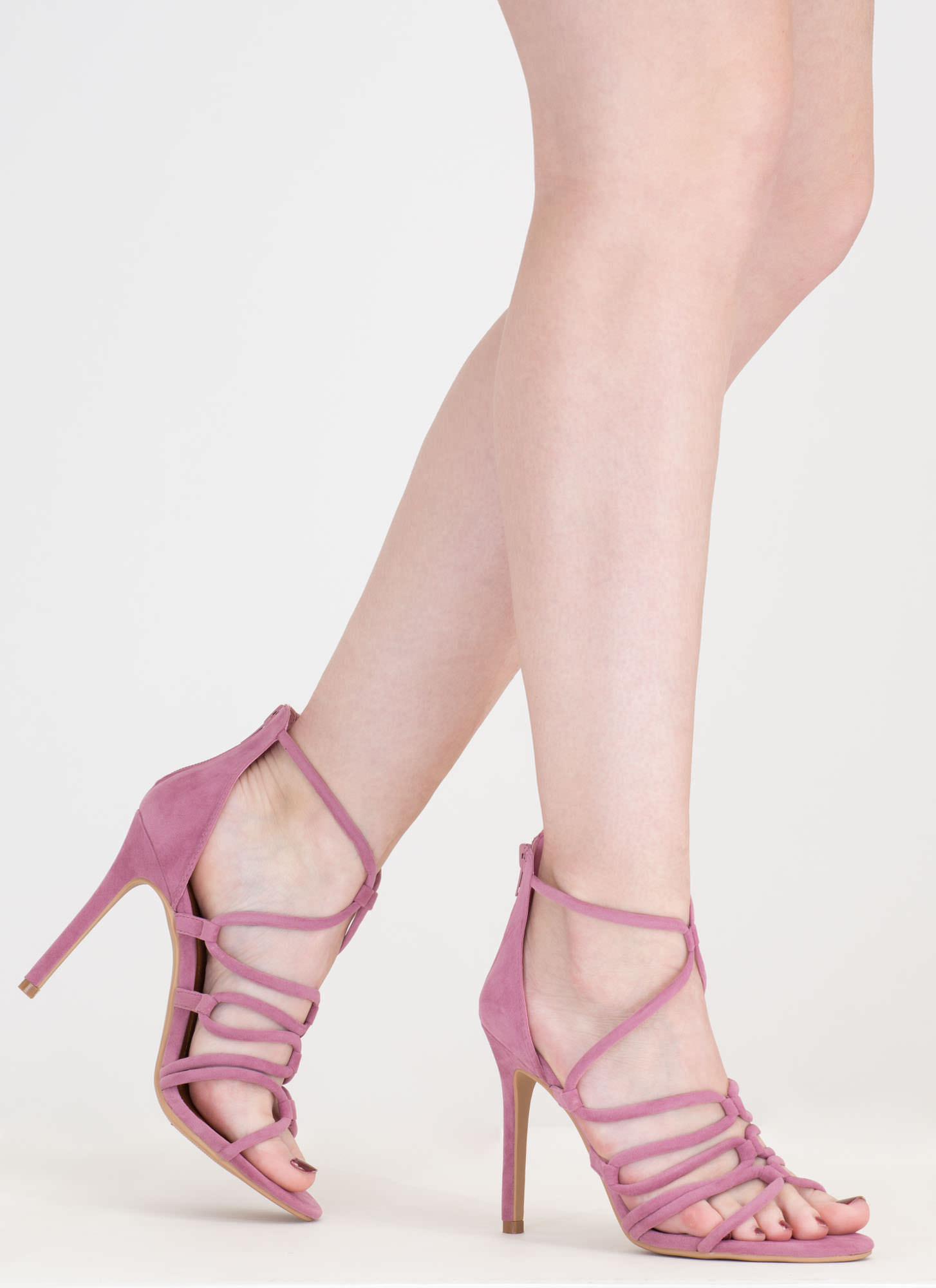 Loop There It Is Caged Stiletto Heels MAUVE