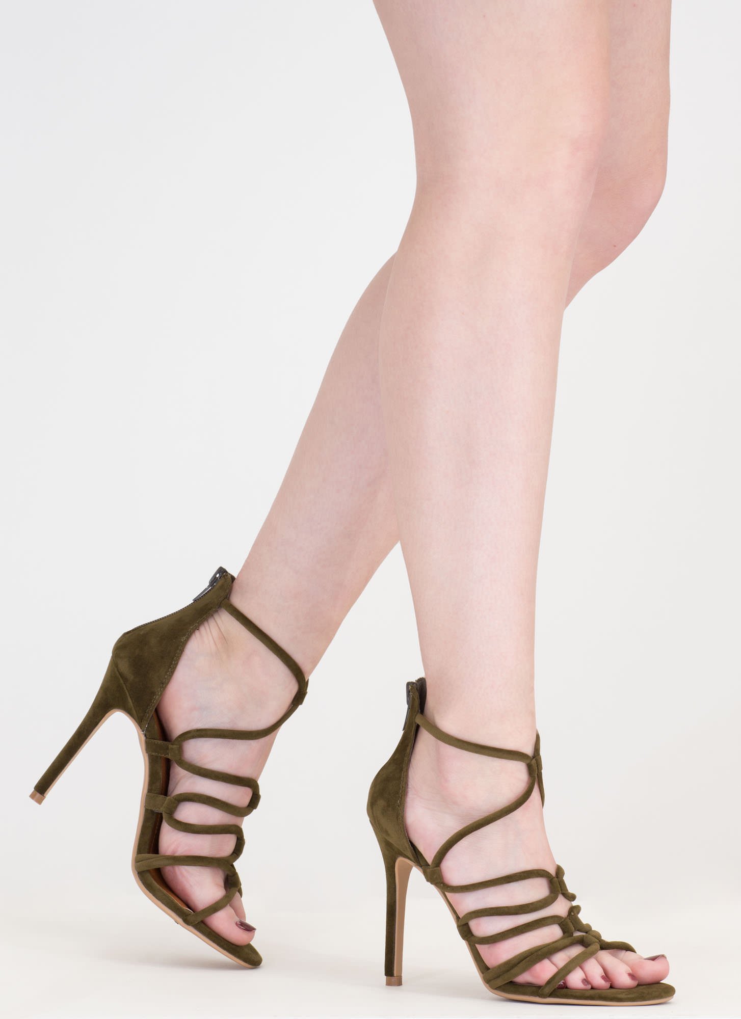 Loop There It Is Caged Stiletto Heels OLIVE
