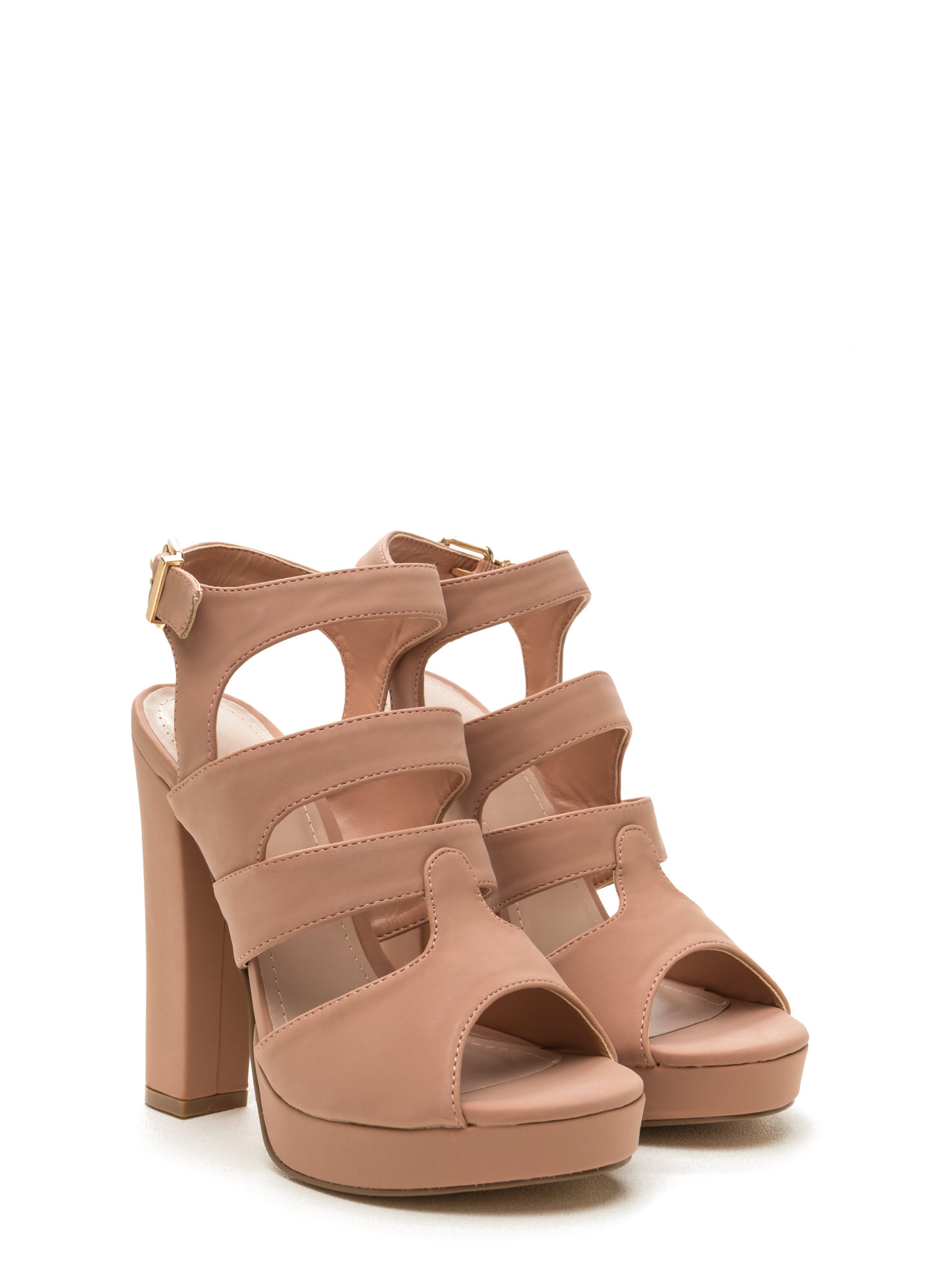 Strappy Days Chunky Caged Platform Heels TAUPE